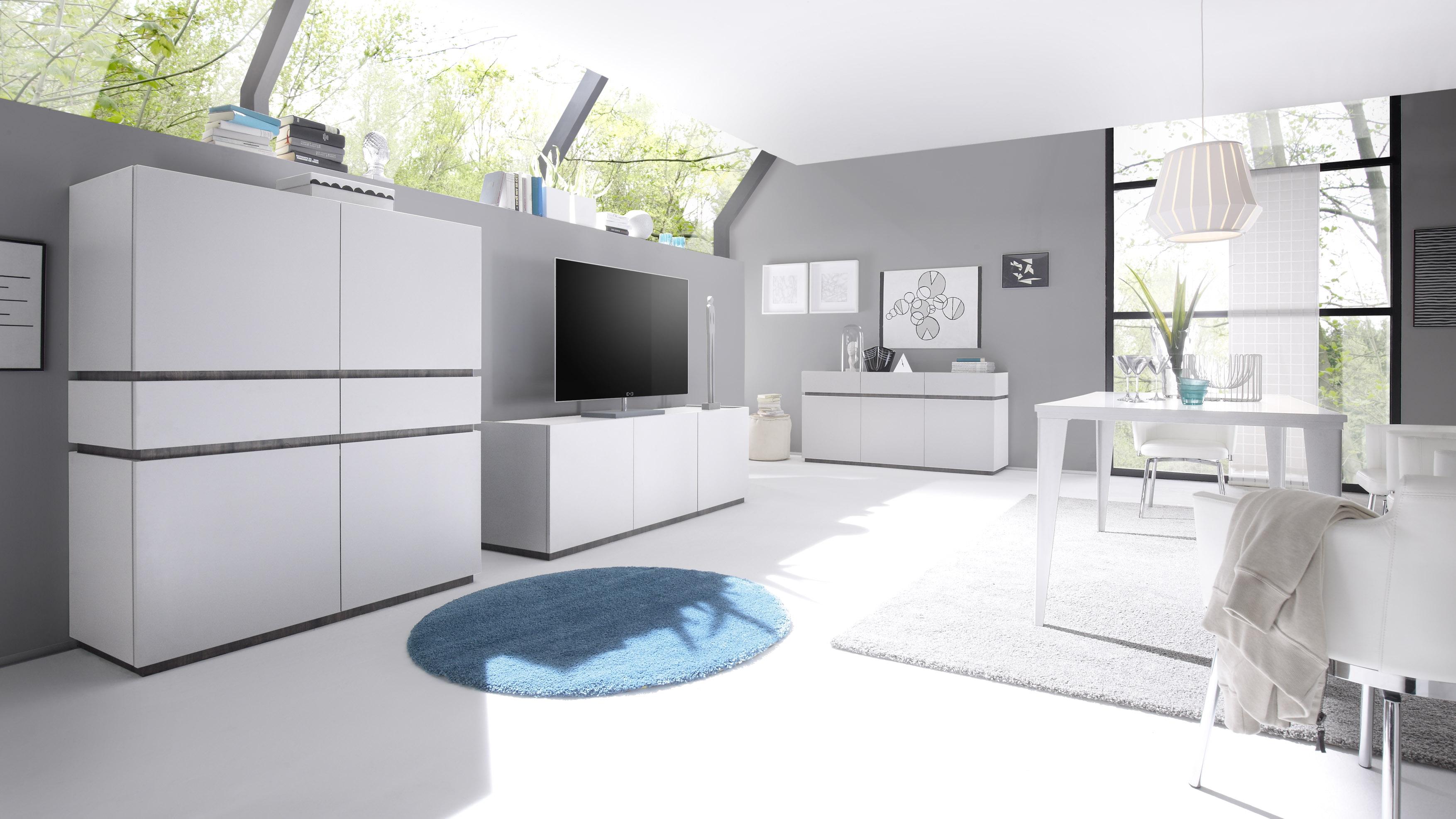 Wohnwand Bloom 3-teilig in Weiß-Wenge