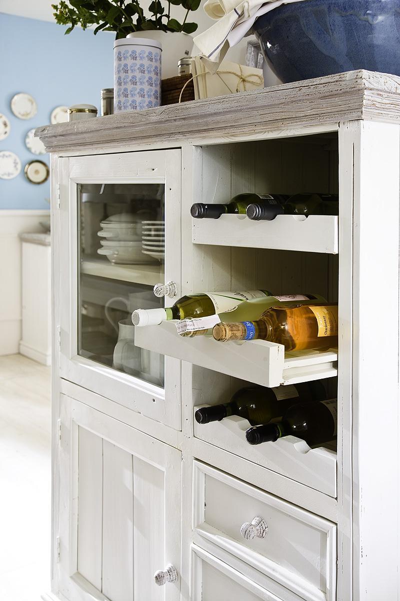 Vitrine Olio mit Weineinsatz Kiefer Weiß Massiv