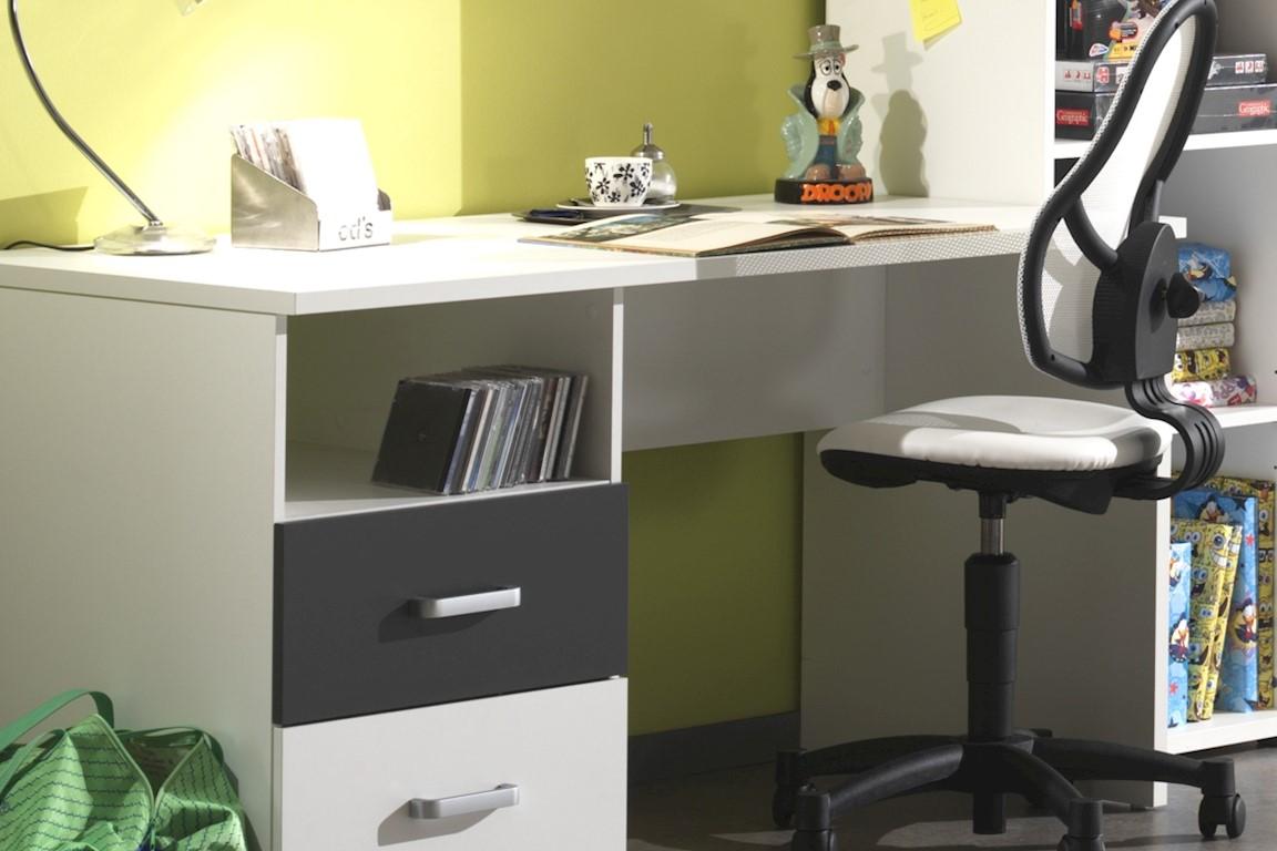 Schreibtisch Set Linde 2-teilig in Weiß-Anthrazit