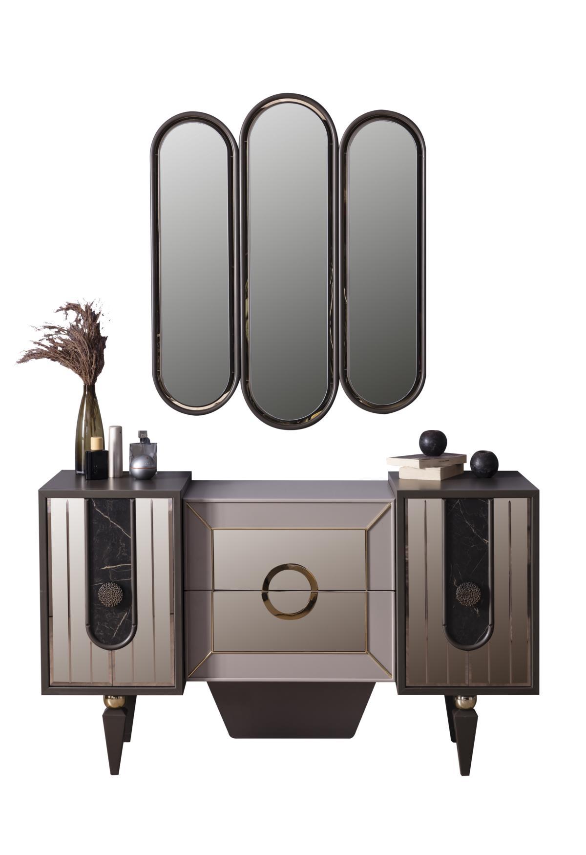 Weltew Sideboard mit Spiegelelementen Lizbon Gold