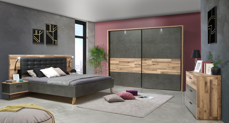 Schlafzimmer komplett Eiche Optik Ricco 3-teilig