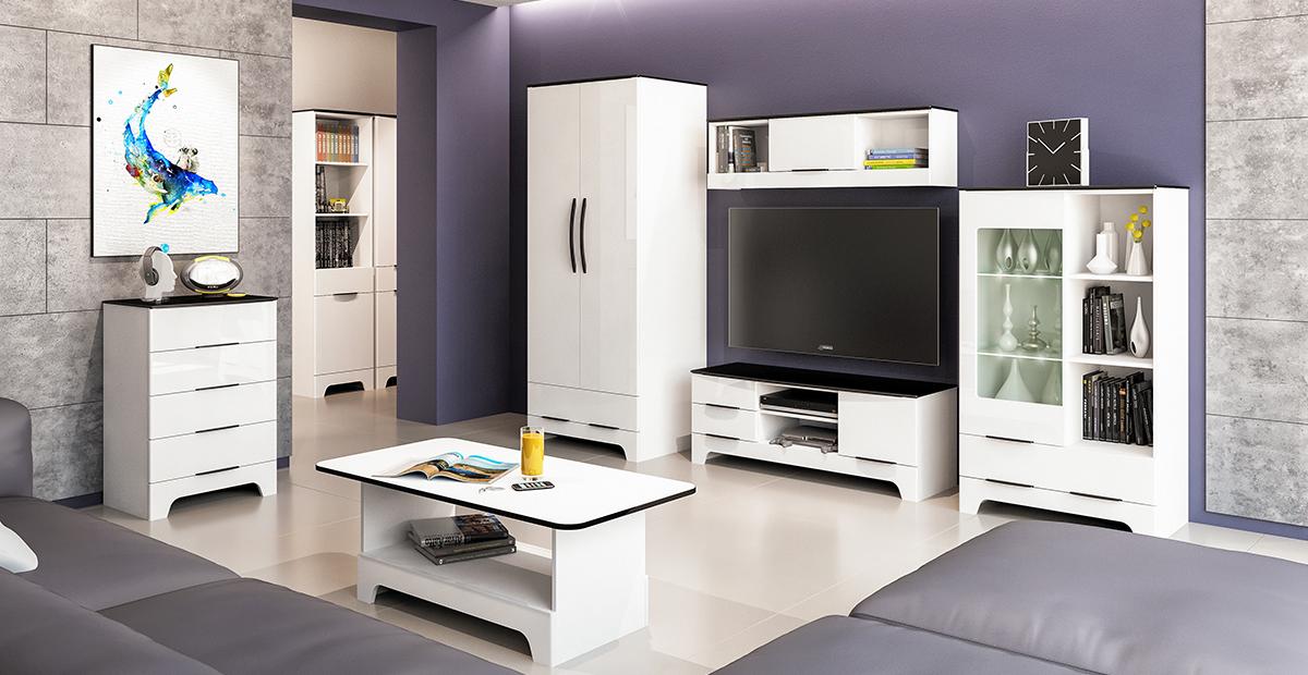 Wohnwand Verala 4-teilig mit Kleiderschrank in Weiß