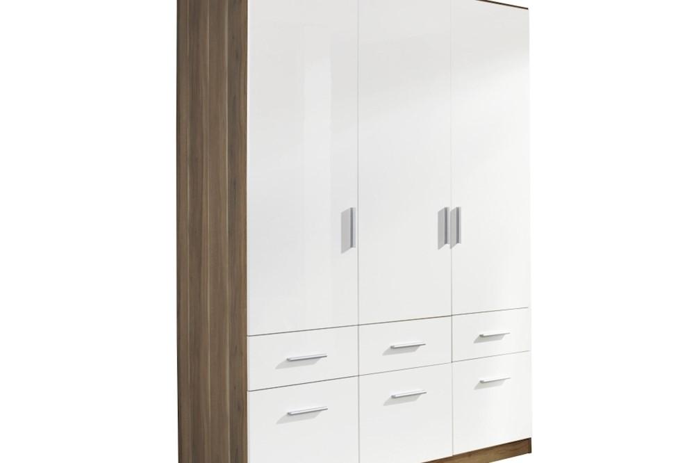 Drehtür-Kombischrank CELLE weiß / Kernnuss 136 x 210 x 54 cm