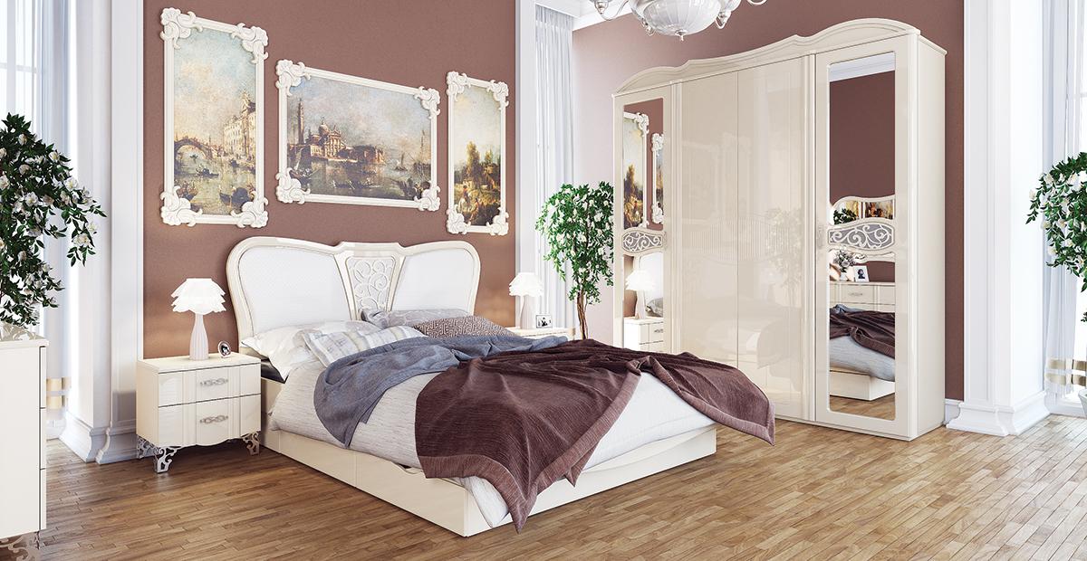 Bett mit Schubkästen 160x200 in Creme Glanz Sofia