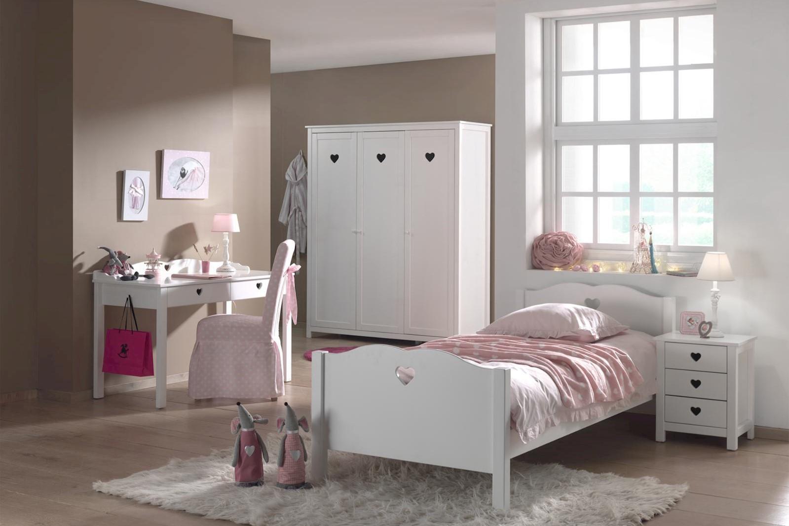 Mädchenzimmer komplett Set Albin 4- teilig in Weiß MDF