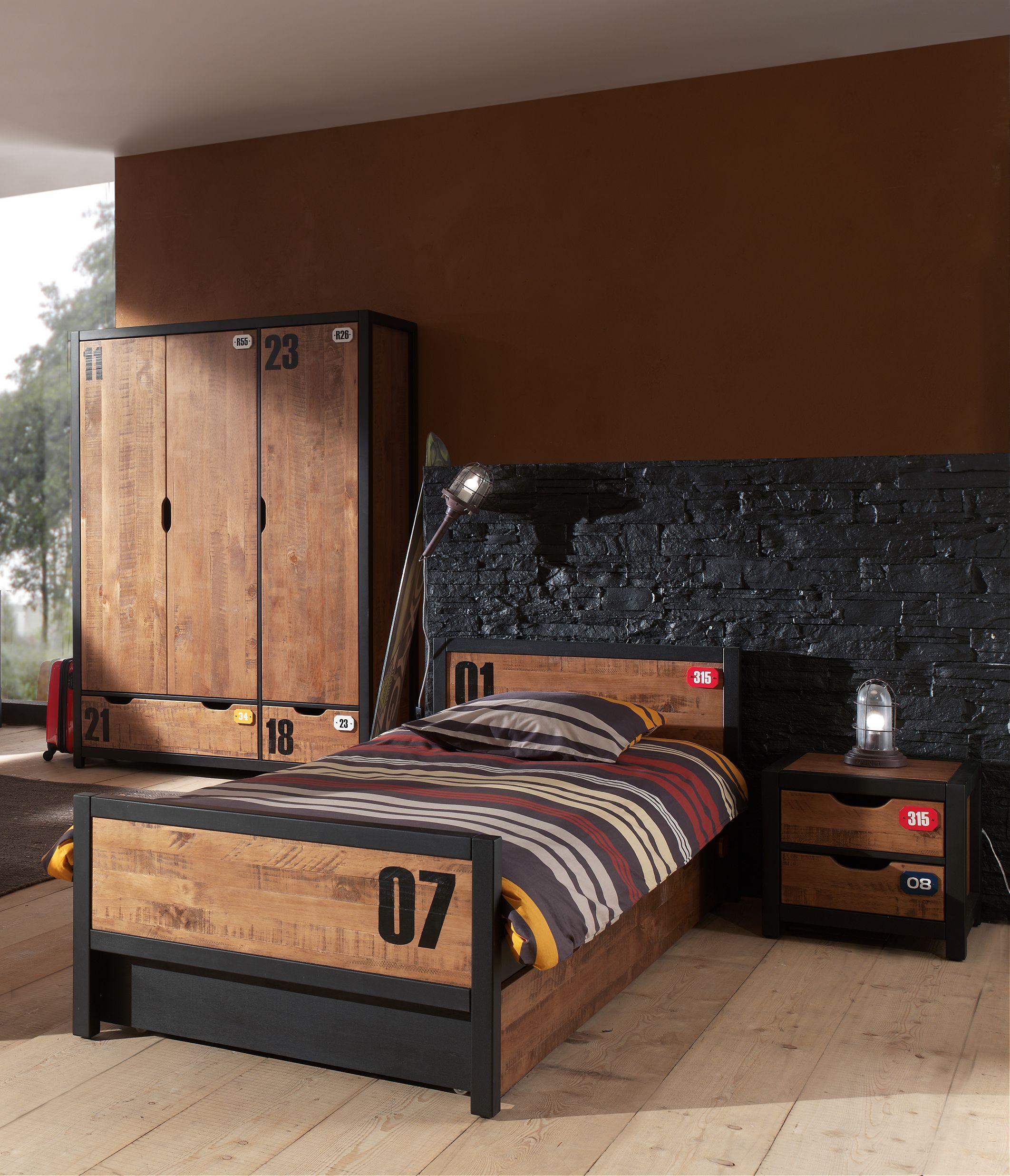 Jugendzimmer-Set Alex 4-teilig aus Massivholz