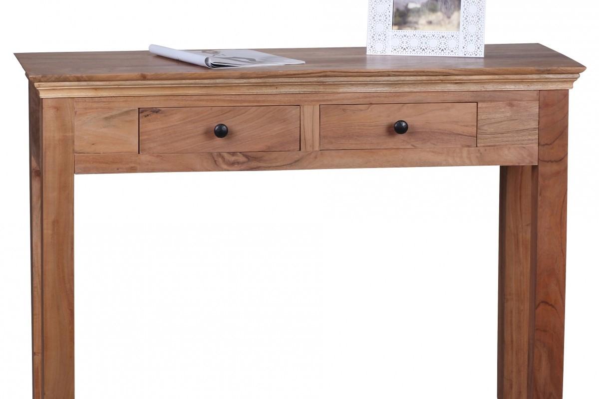 Akazie Konsolentisch Massiv 110 cm mit 2 Schubladen -  Massivholz