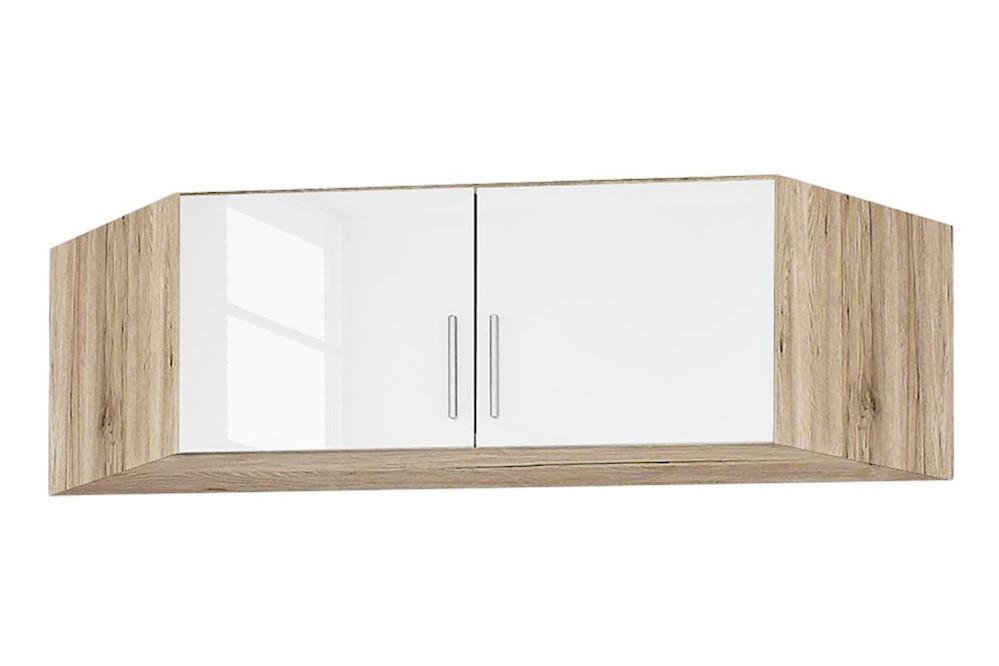 Eckschrankaufsatz CELLE weiß / Eiche Sonoma 117 x 39 x 117 cm