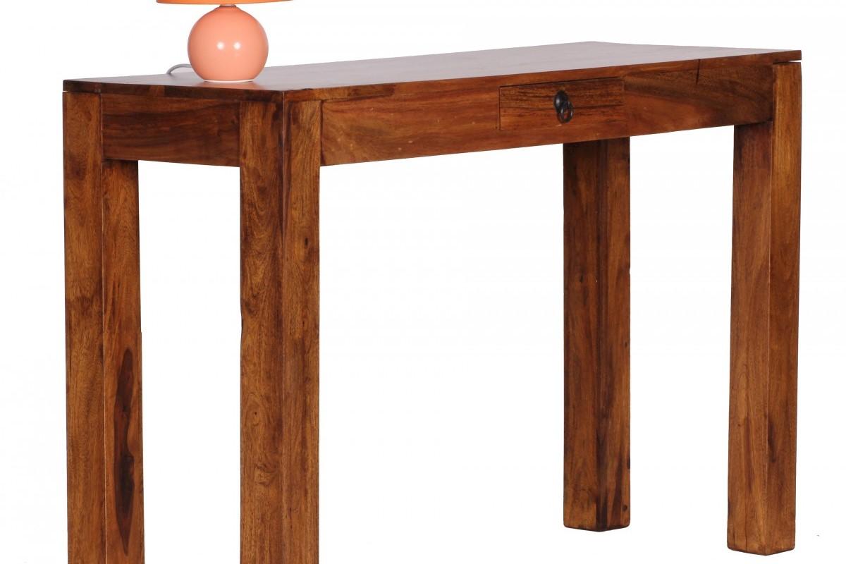 Sheesham Konsolentisch Massiv 120 cm mit 1 Schublade -  Massivholz