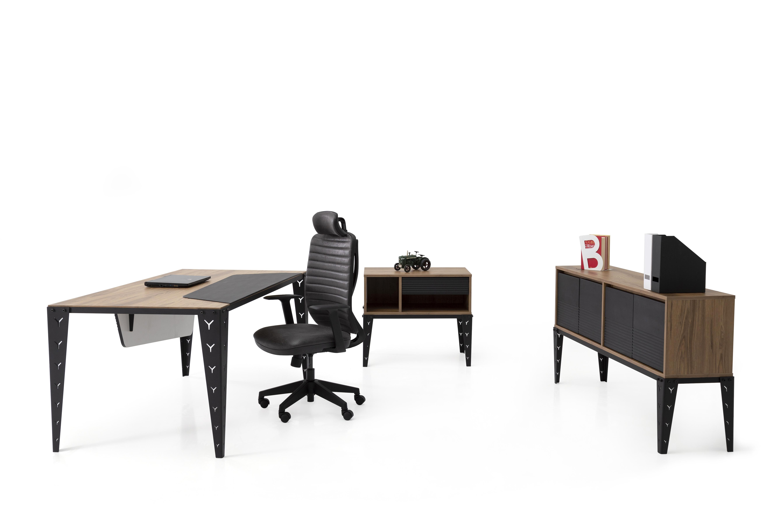 Ovali Schreibtisch Set 3-teilig Mustang 180x90 cm