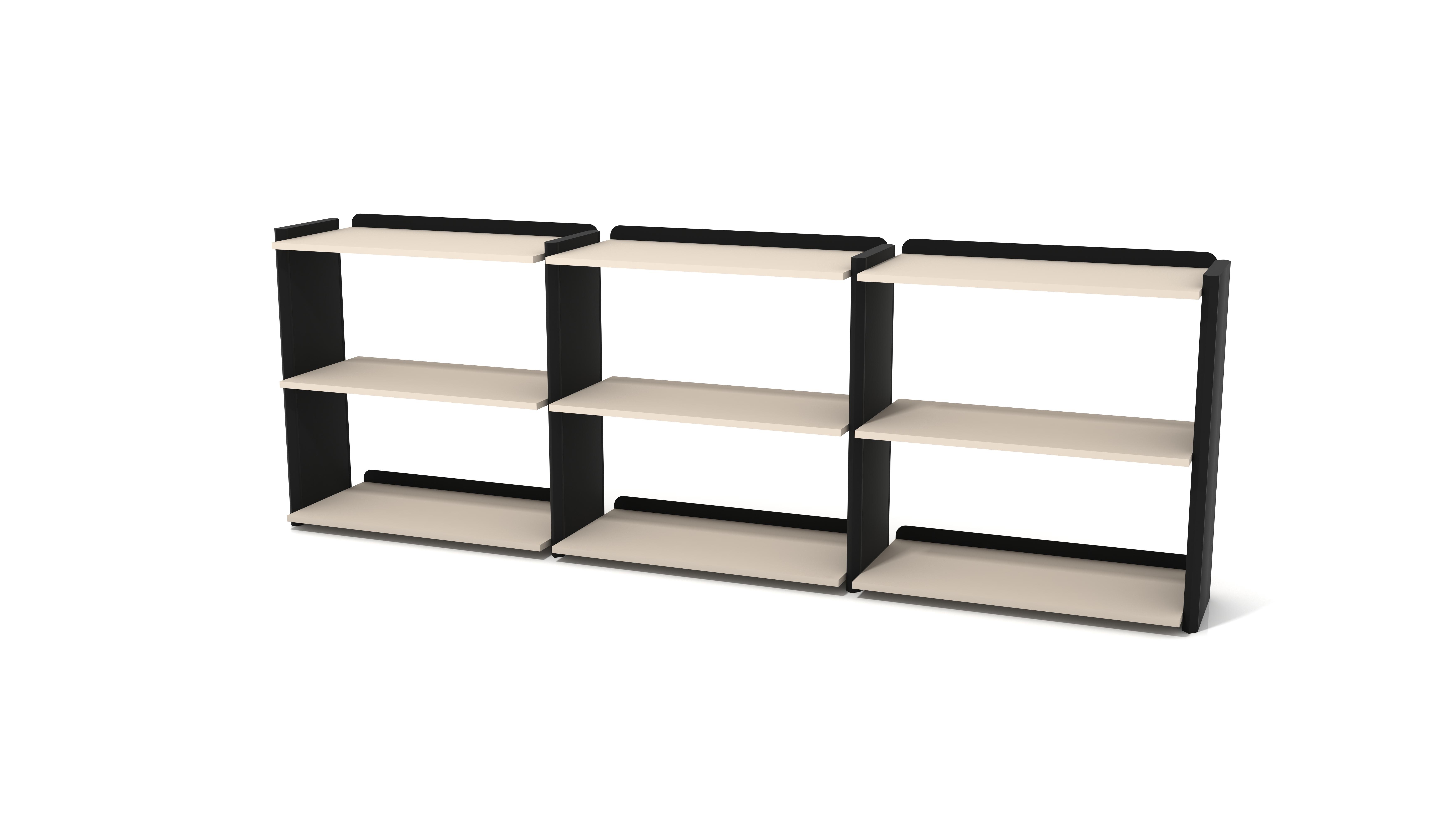 Ovali Bücherregal 6-Fächer Prime Schwarz Creme
