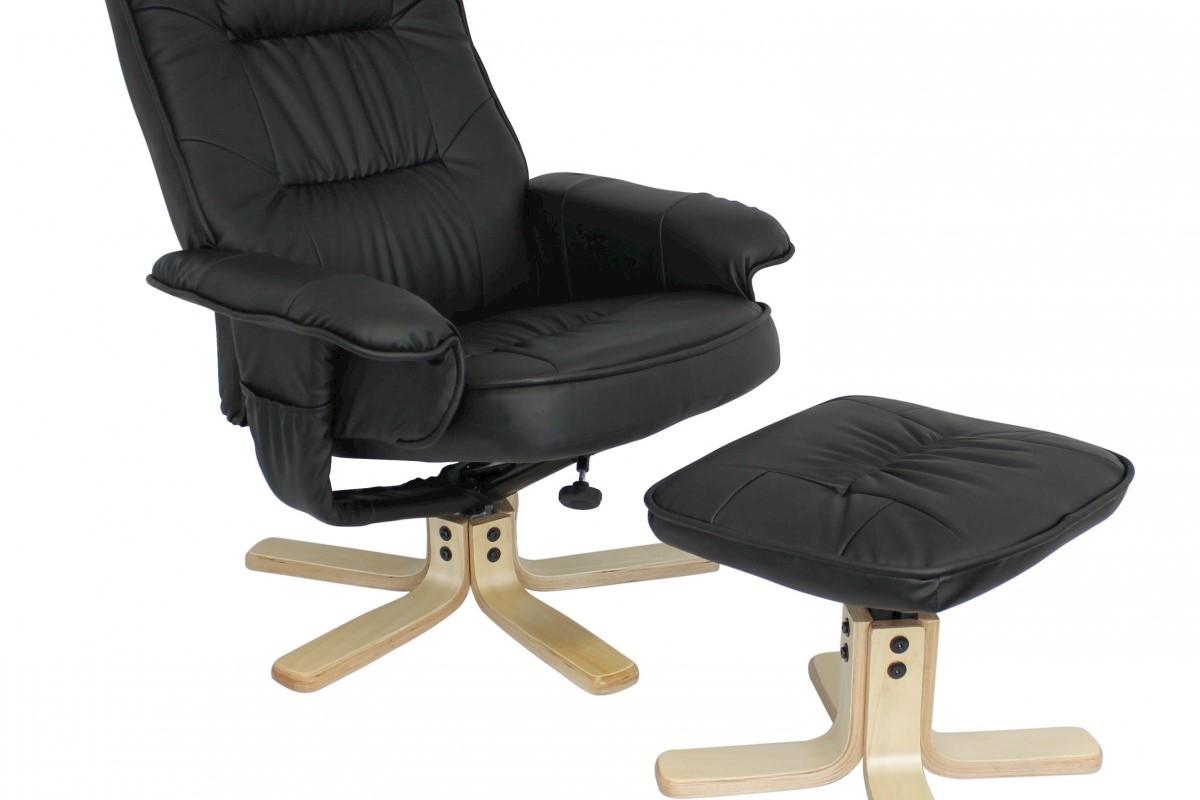 Comfort TV Fernsehsessel Relaxsessel Leder Optik schwarz drehbar mit Hocker
