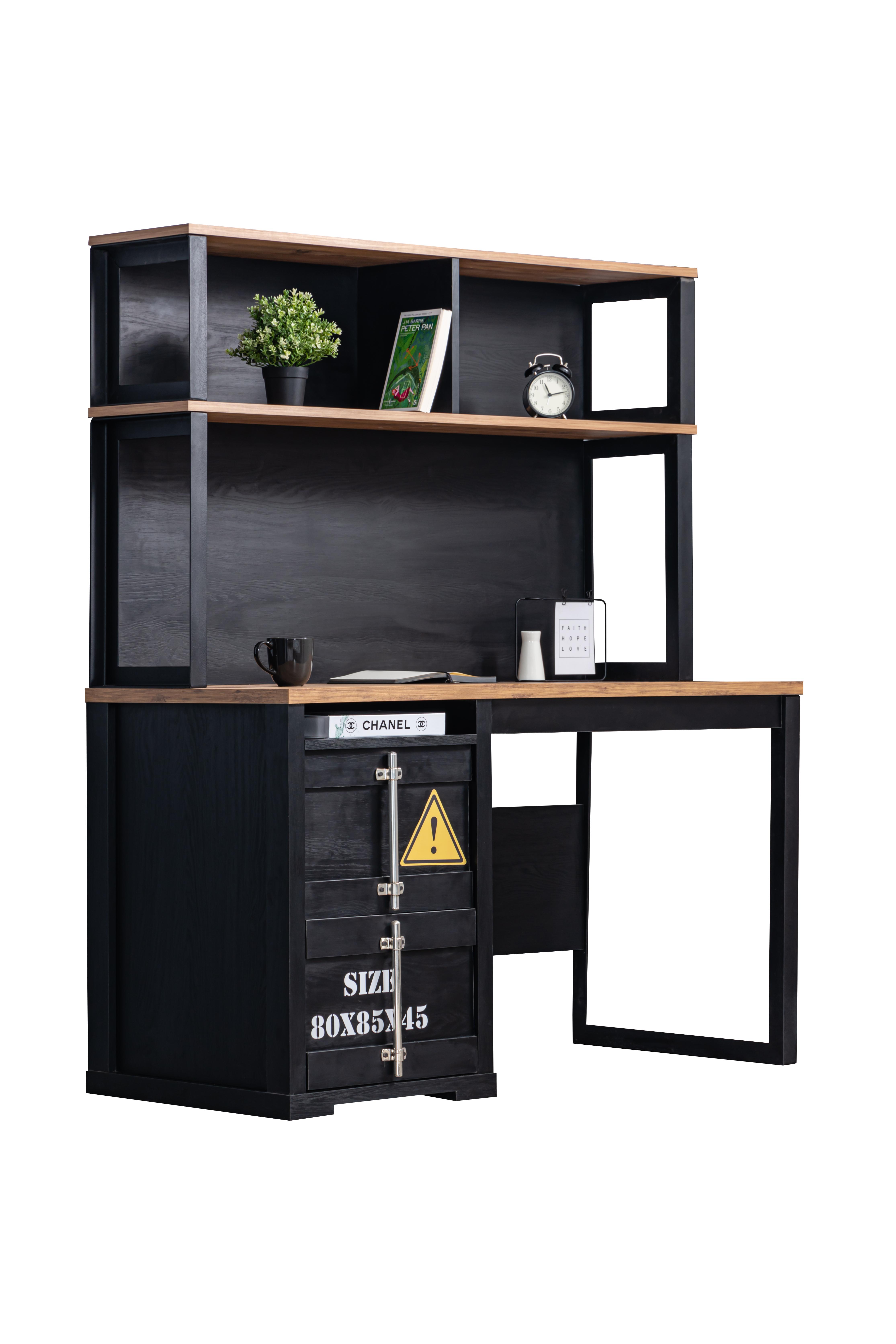 Odacix Schreibtisch Container mit Aufsatz in Schwarz