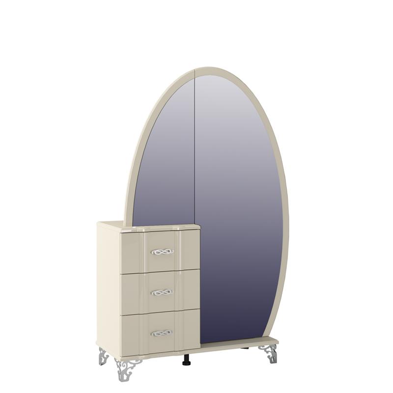 Kommode mit Spiegel zum öffnen in Creme Glanz Sofia