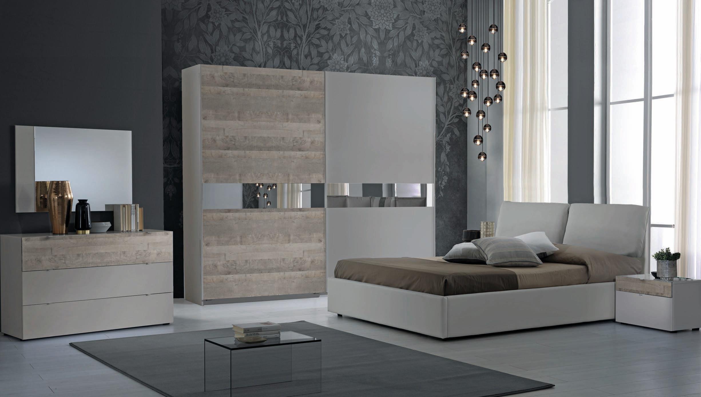 Schlafzimmer Serie Agata in Grau/Buche 180x200
