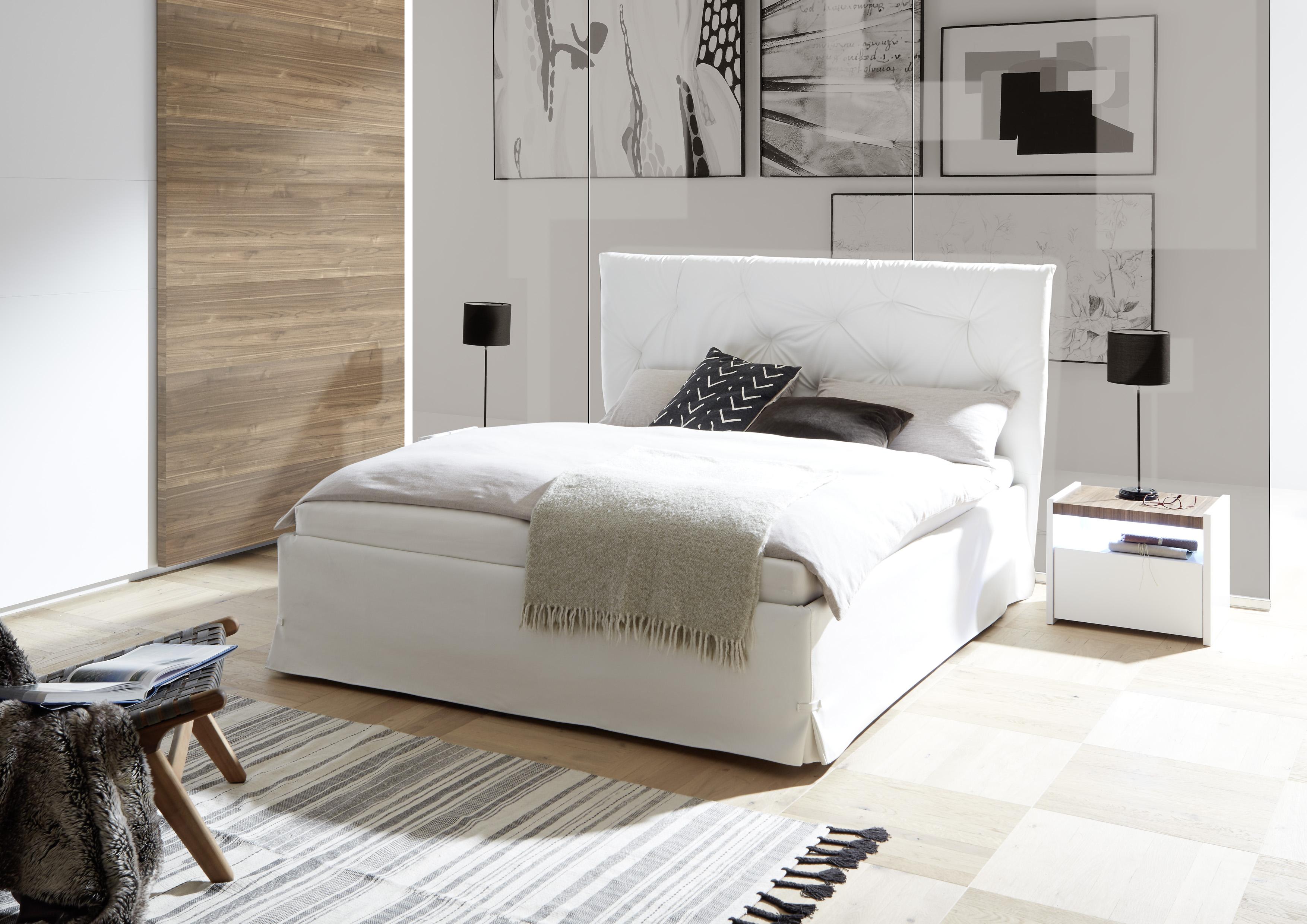 Modernes Bett Kunstleder Weiß Luana Alpaca 160x200