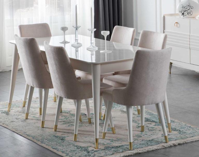 Lidya Esszimmertisch Pena mit 6 Stühlen in Weiß