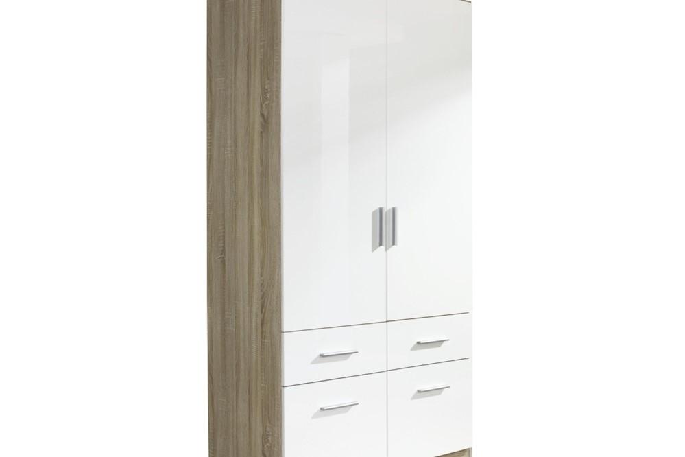 Drehtür-Kombischrank CELLE II  weiß / Eiche Sonoma 91 x 197 x 54 cm