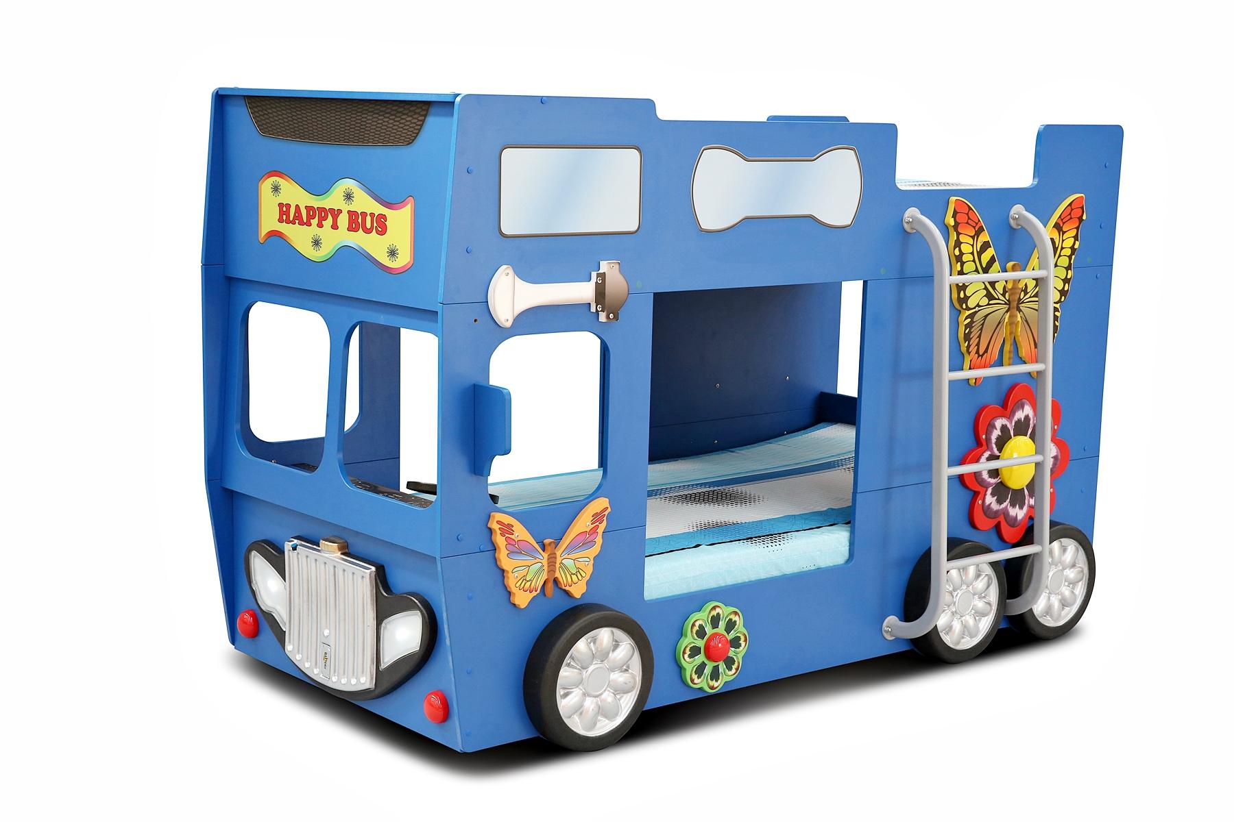 Hochbett Happy Bus mit Matratze & LED in Blau 90x190