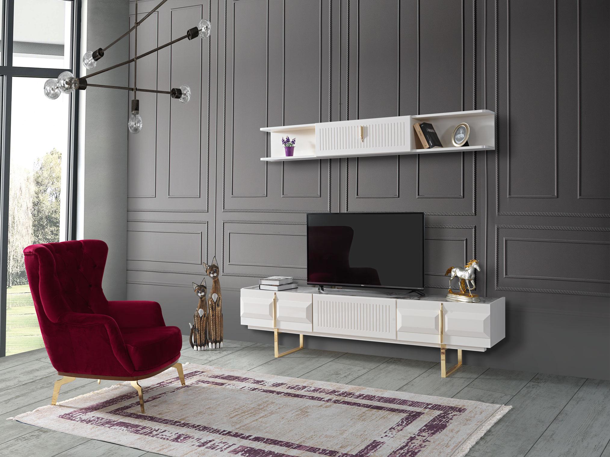 Lidya Wohnzimmer TV Wand Pianno Unterschrank Weiß