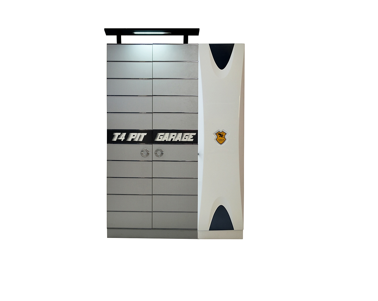 Titi Kinderkleiderschrank Grau/Weiß Cat Garage 3-türig