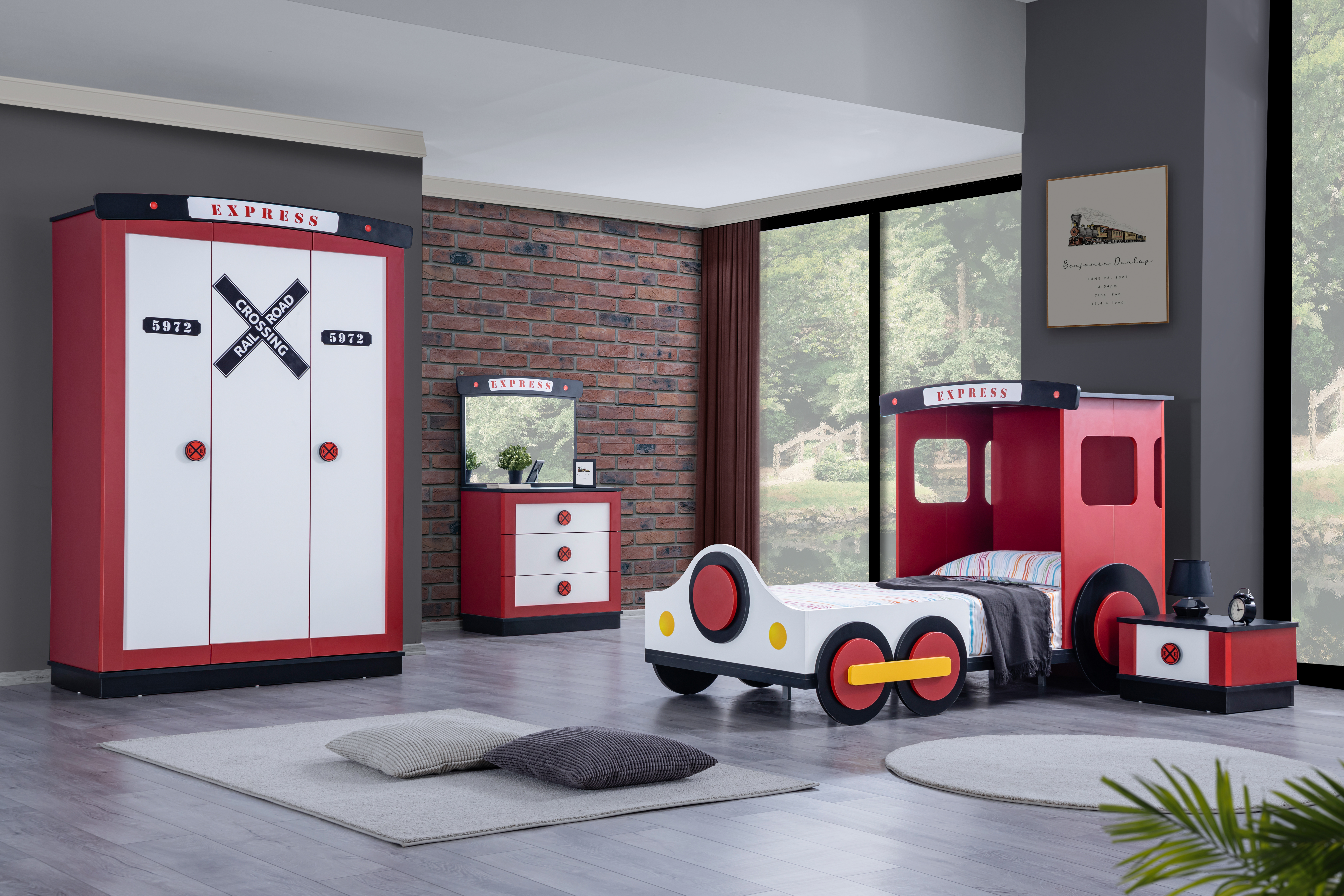 Odacix Kinderzimmer Express 4-teilig Lokomotiven Design