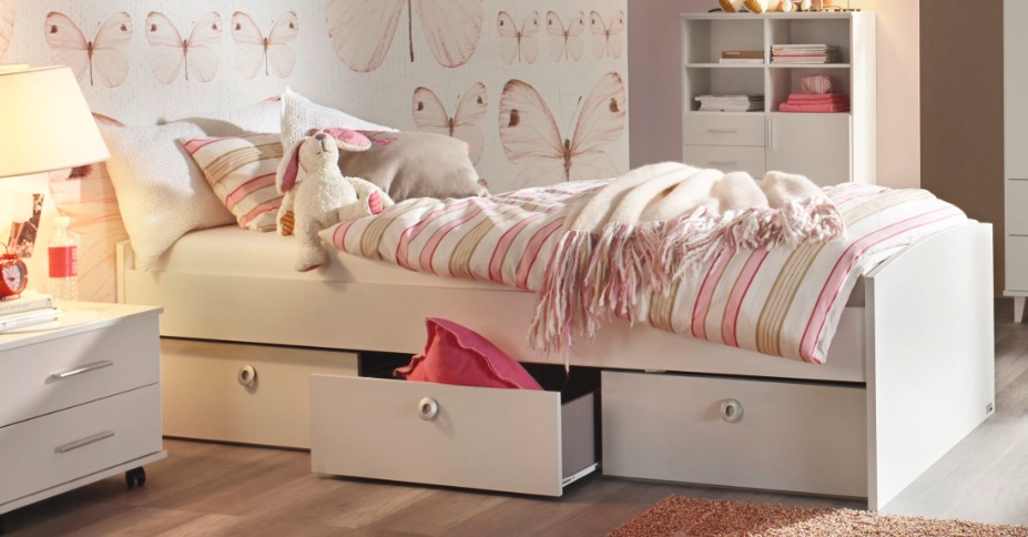 Bett in weiß Aik mit drei Bettschubkästen