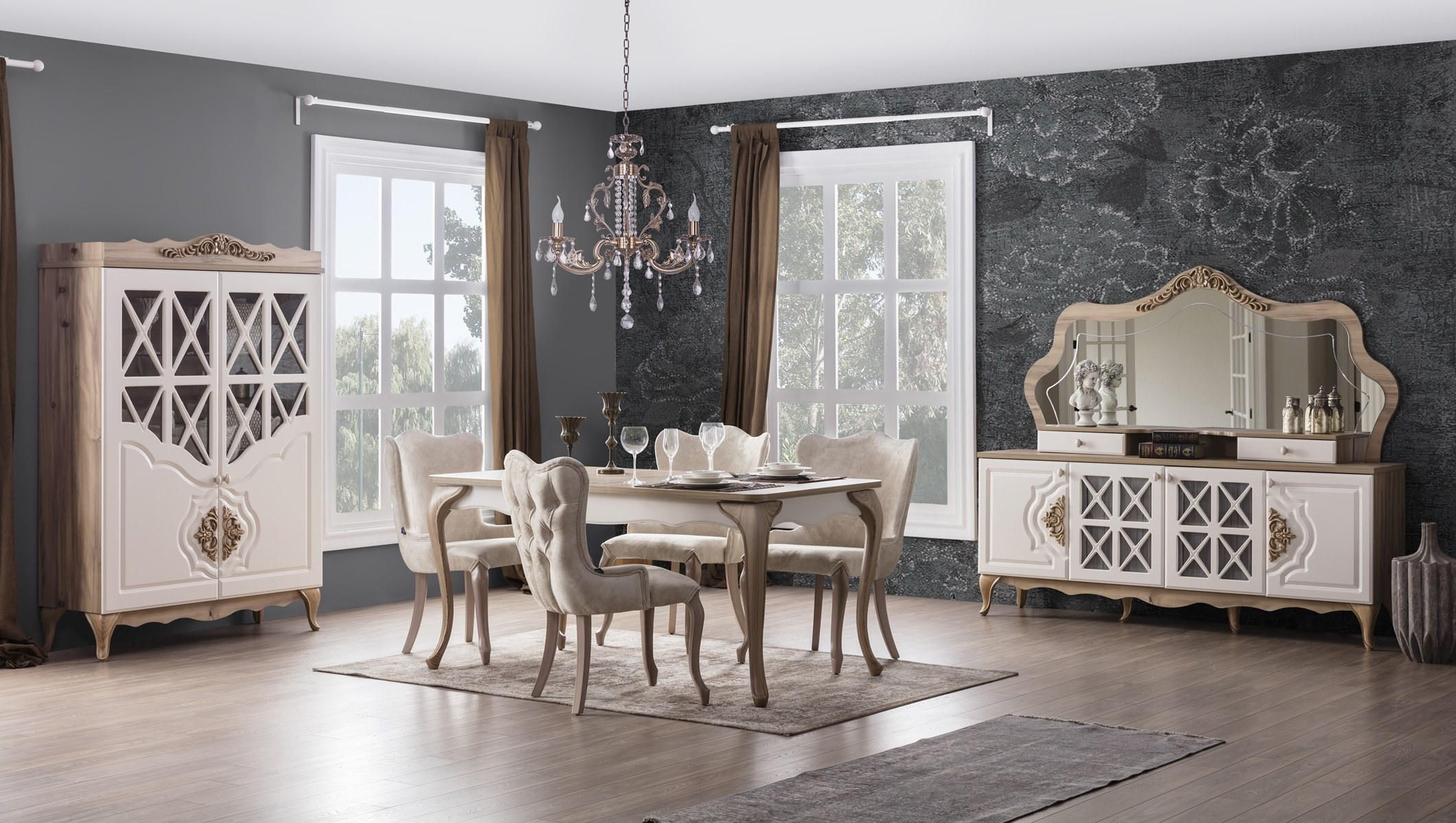Weltew Esszimmer mit 6 Stühlen Balat in Creme