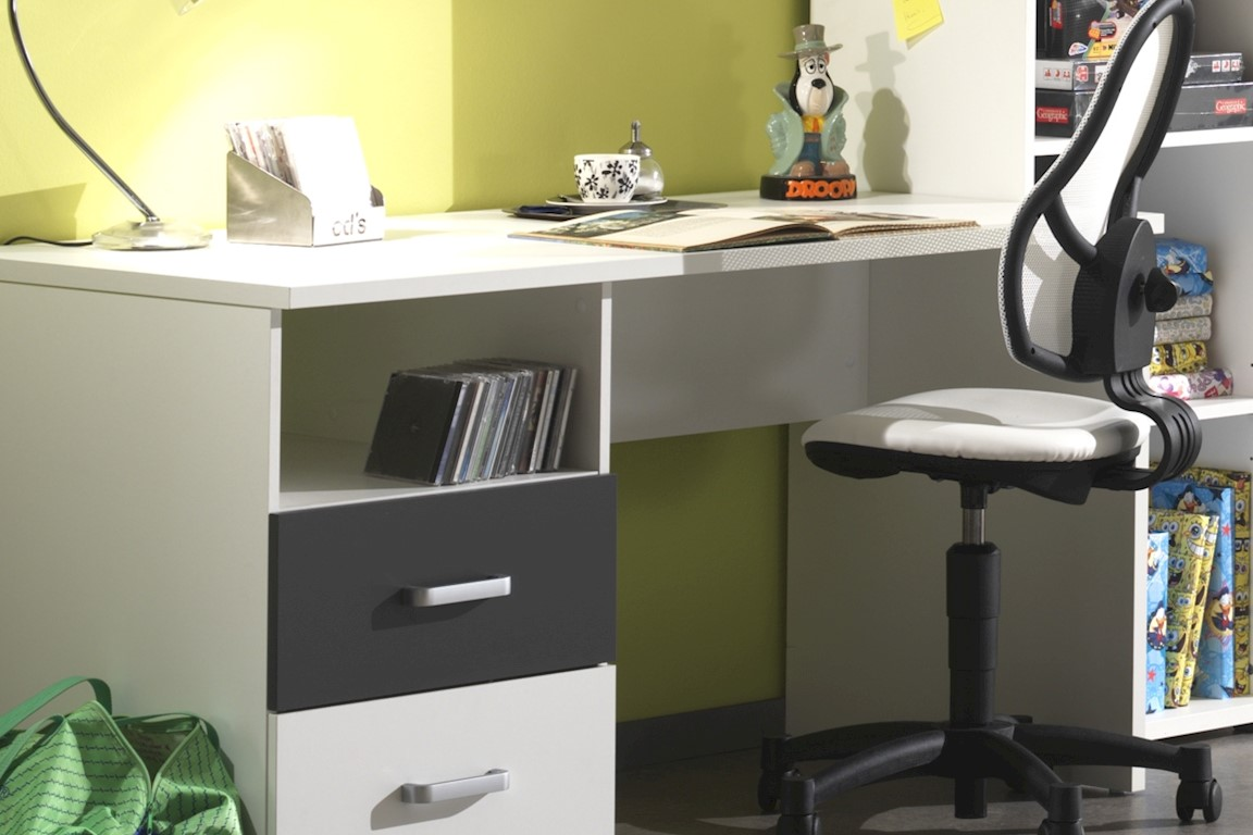 Schreibtisch Linde in Weiß-Anthrazit MDF