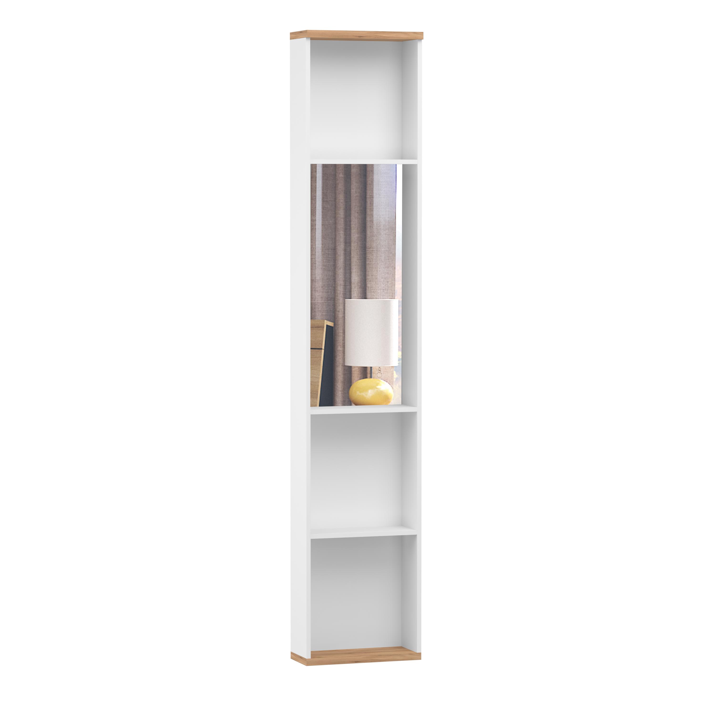 Lubidom Bücherregal Urban mit Spiegel in Oak und Weiß