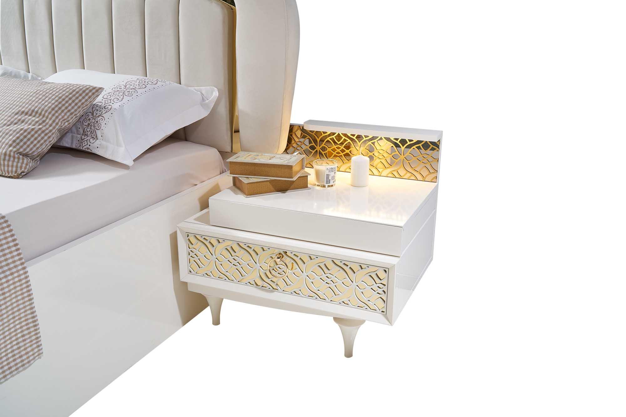 Lidya zwei Nachtkommoden Pena in Weiß mit LED