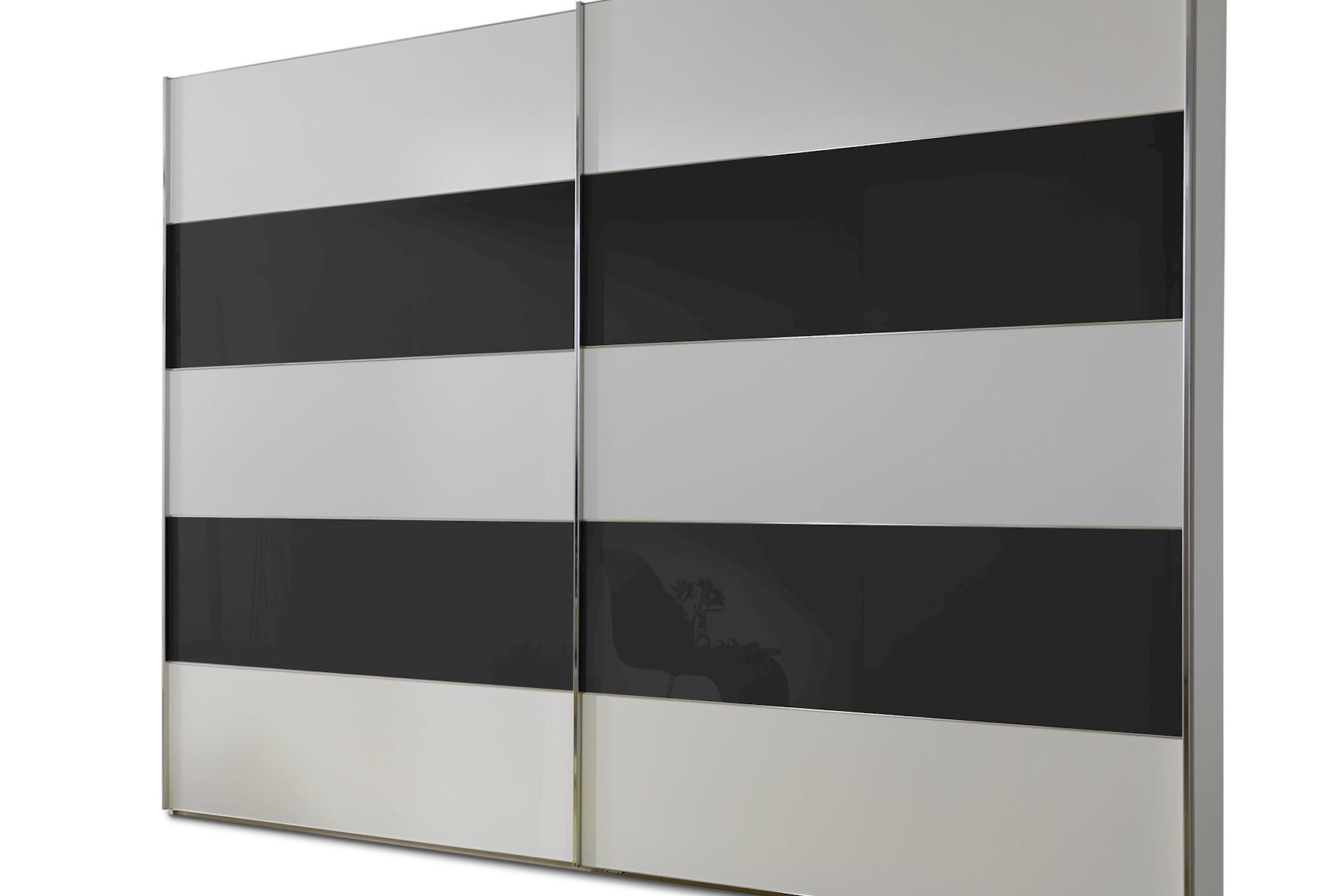 Schwebetürenschrank Genius in Weiß mit Schwarzem Glas 250 cm x 236 cm
