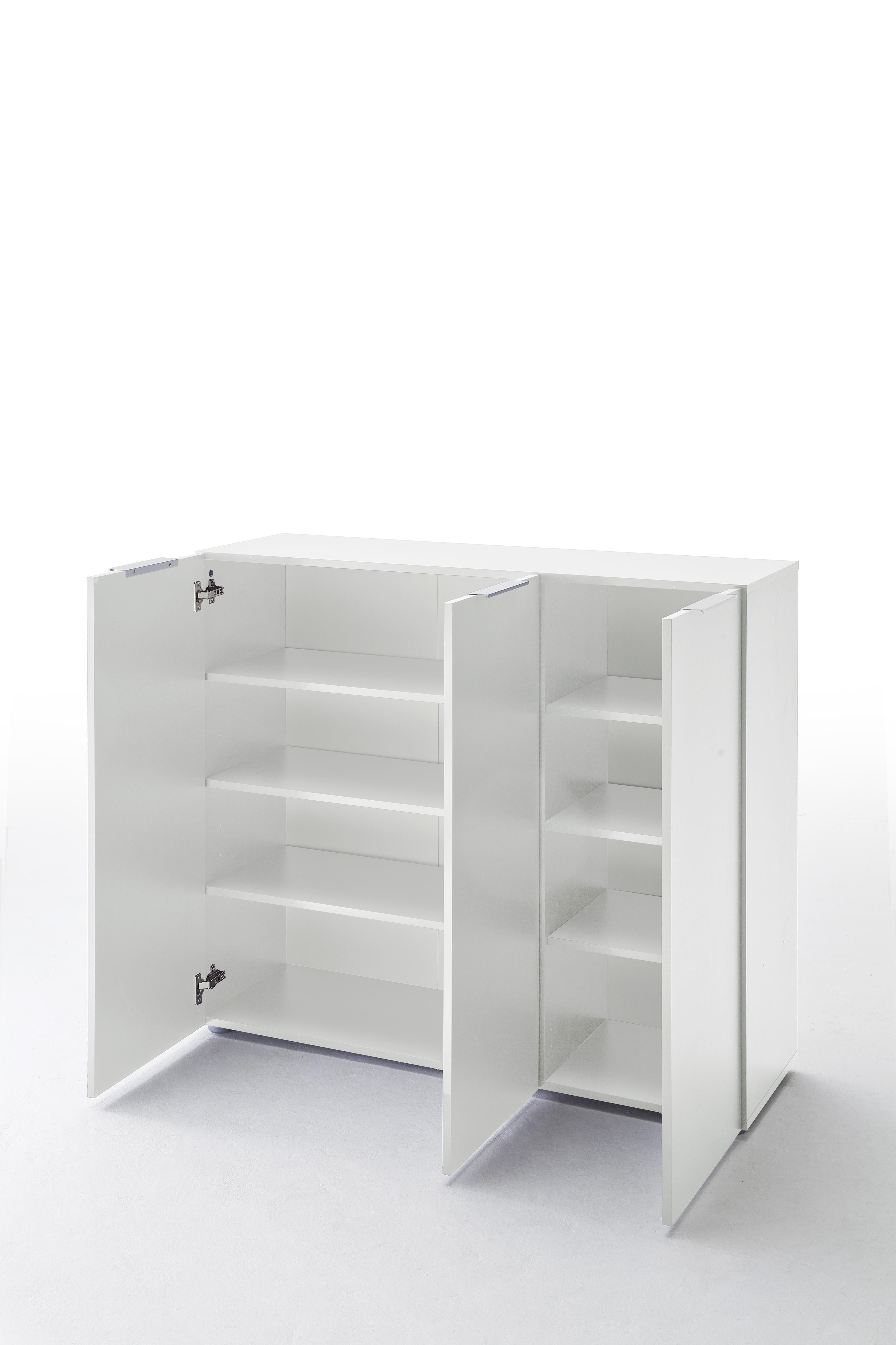 Schuhschrank Vini Weiß Hochglanz mit 3 Türen