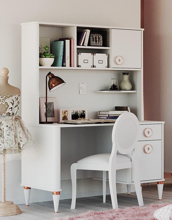 Almila Schreibtisch mit Aufsatz in Weiß mit USB Bella