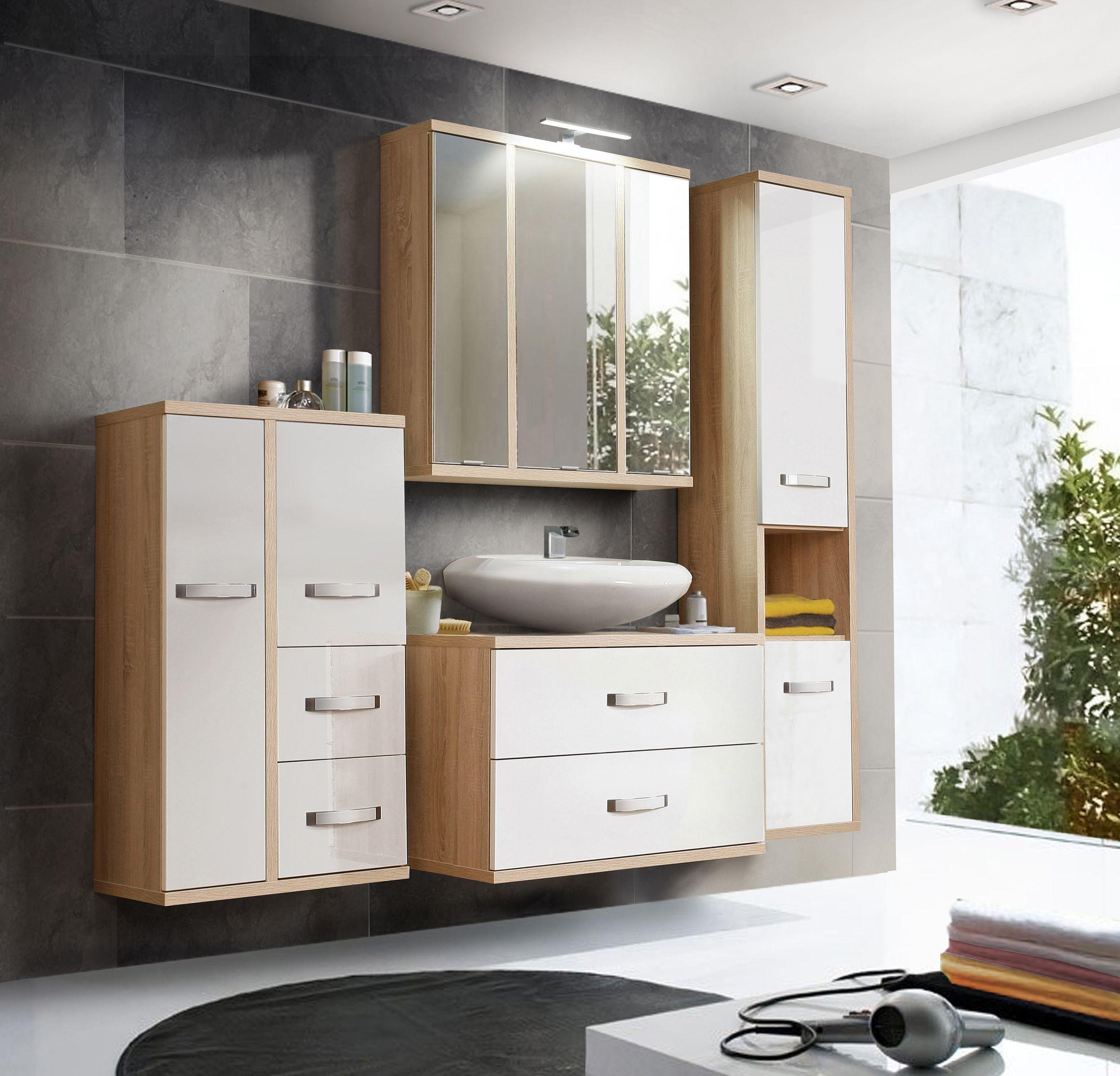Badezimmer in Sonoma Eiche Weiß Arianna 4-teilig