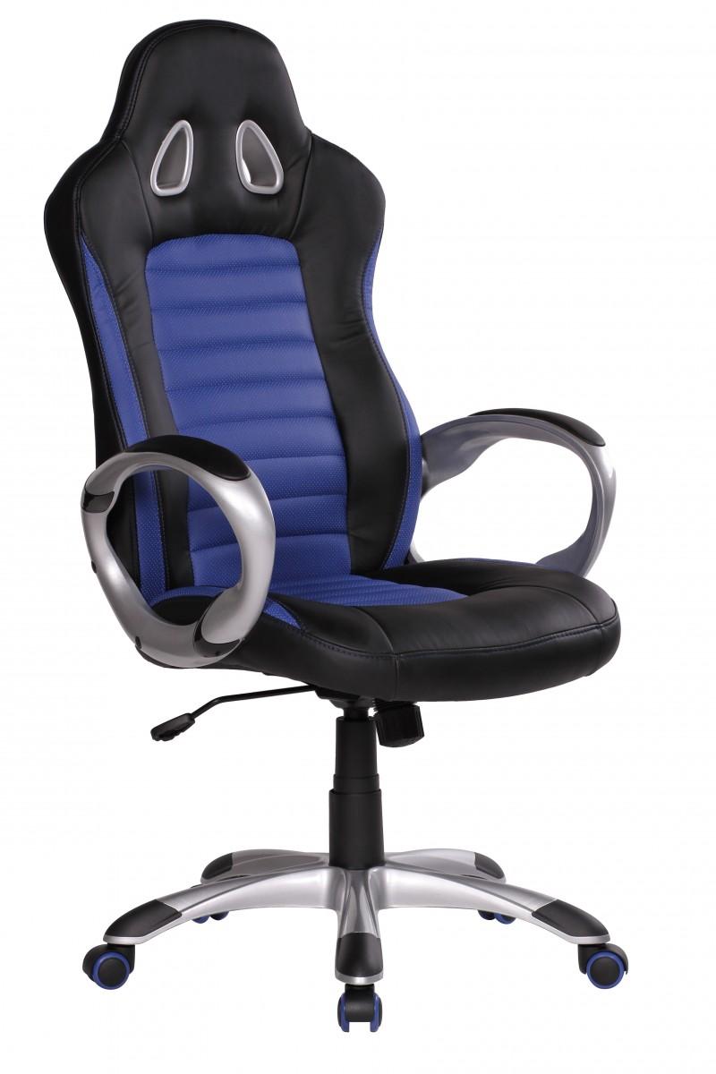 Sport Bürostuhl - Chefsessel Kunstleder blau / schwarz