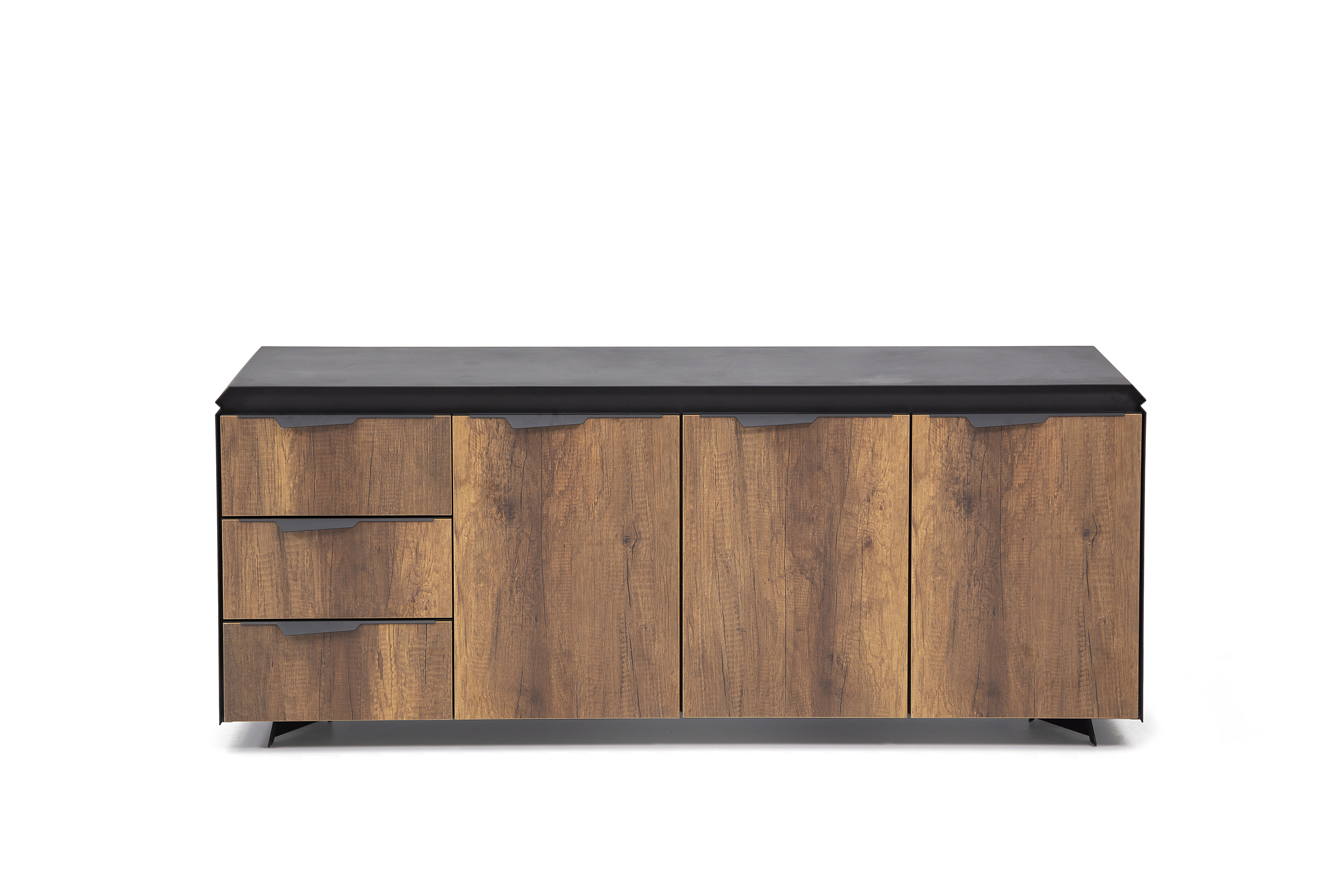 Ovali Sideboard 3-türig Elit Schwarz Holzoptik