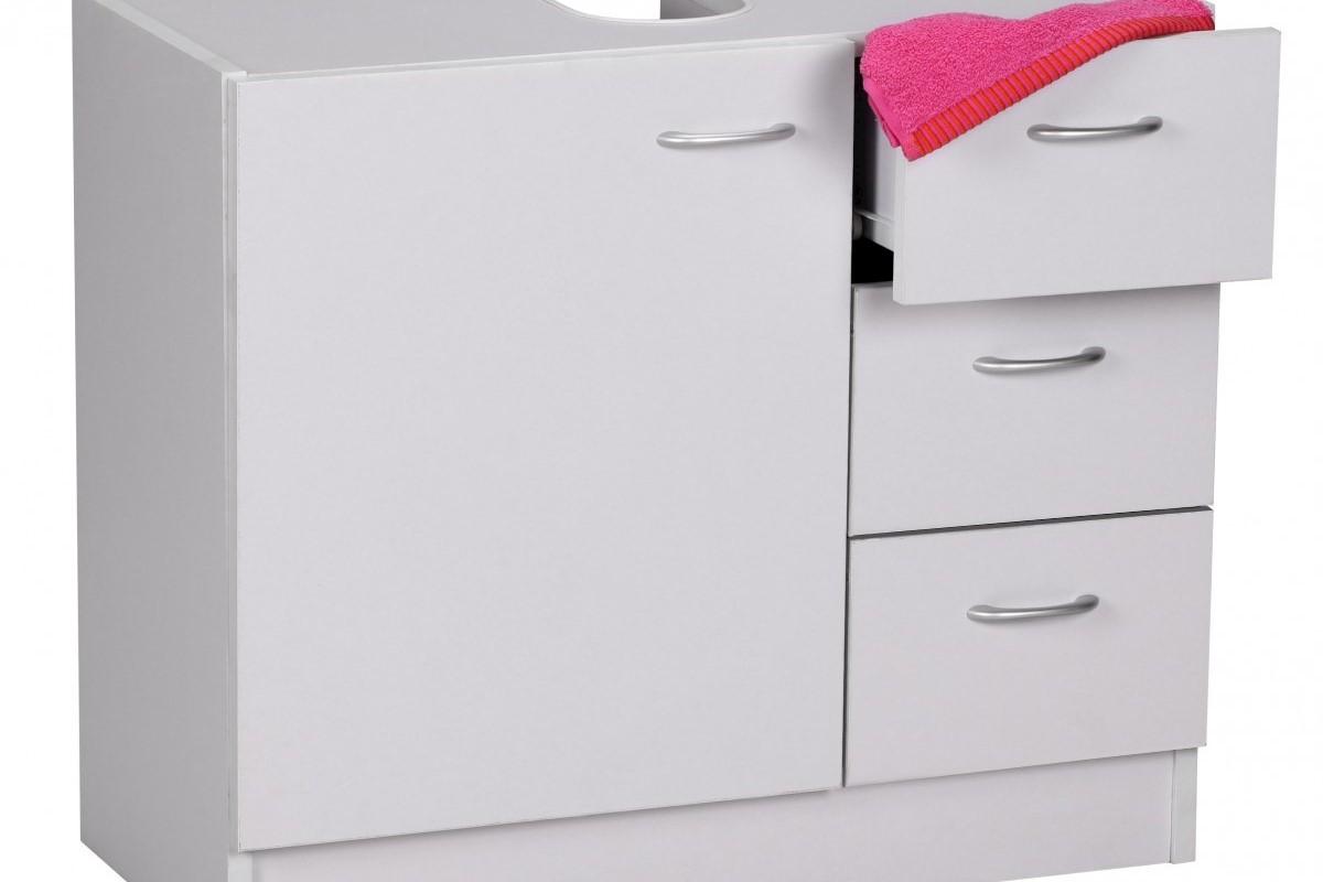Waschbeckenschrank mit Schubfächern und Tür Weiß