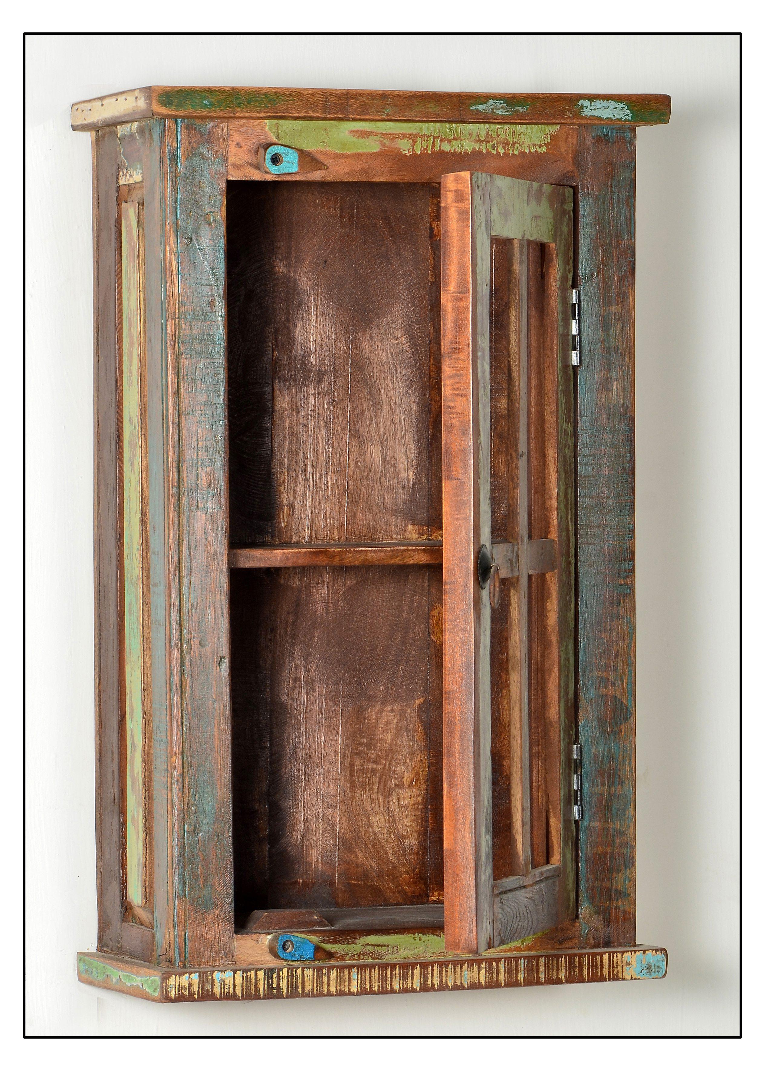 Badezimmerset aus buntem Altholz Melodin 5-teilig