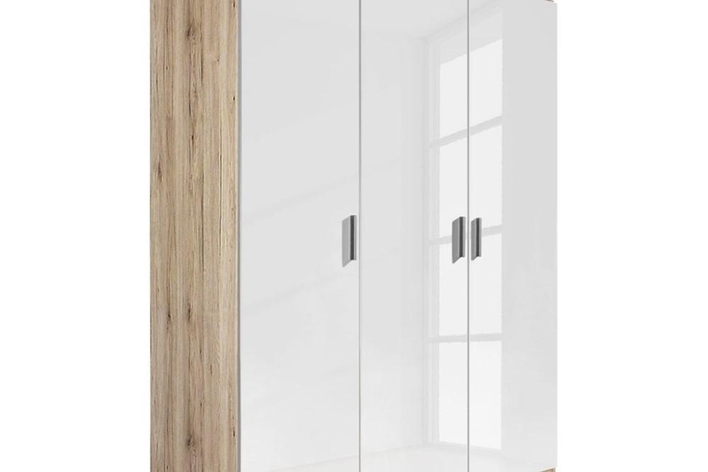 Drehtürenschrank CELLE weiß / Eiche Sonoma 136 x 210 x 54 cm