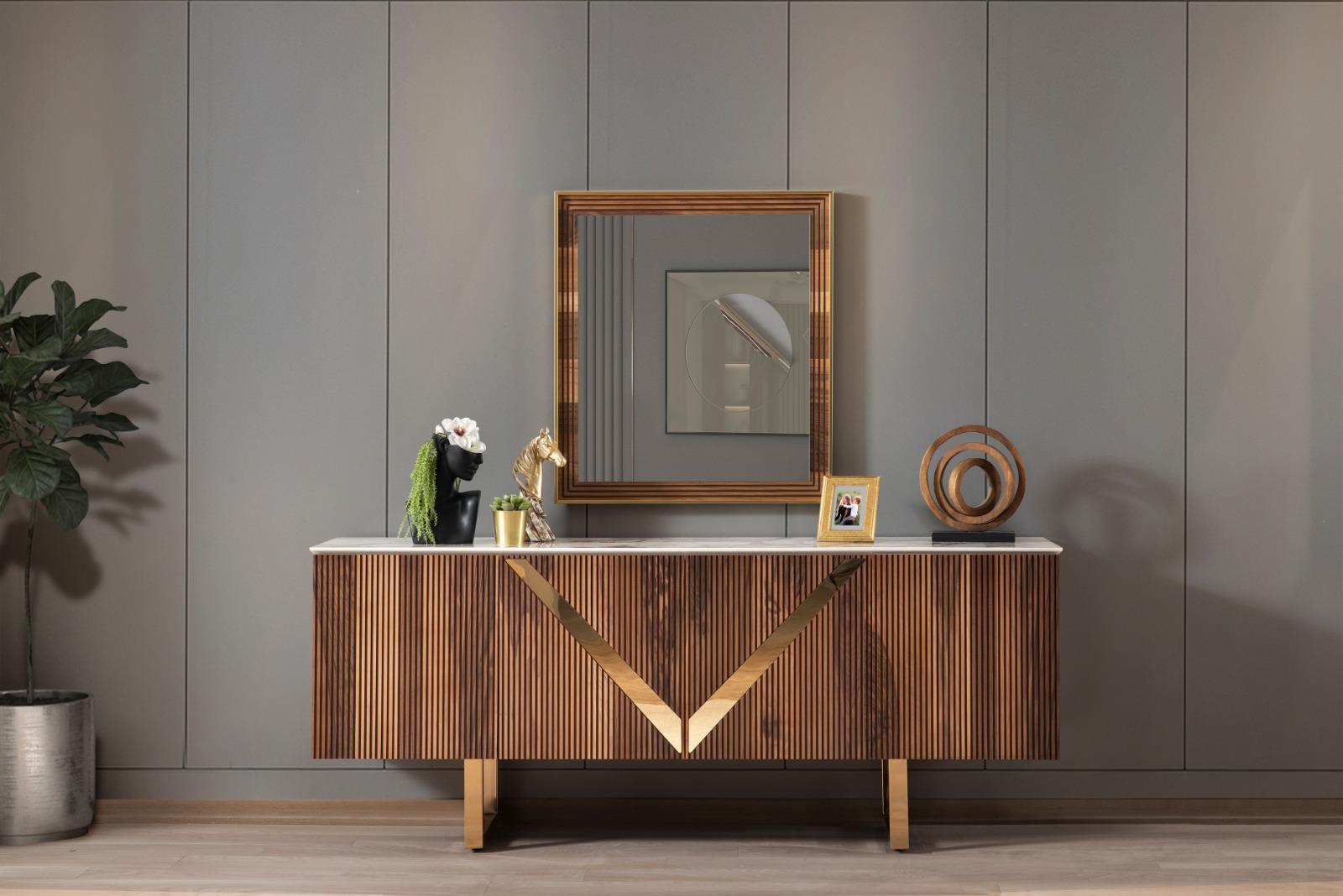 Lake Sideboard Venus Gold 4-türig mit Spiegel