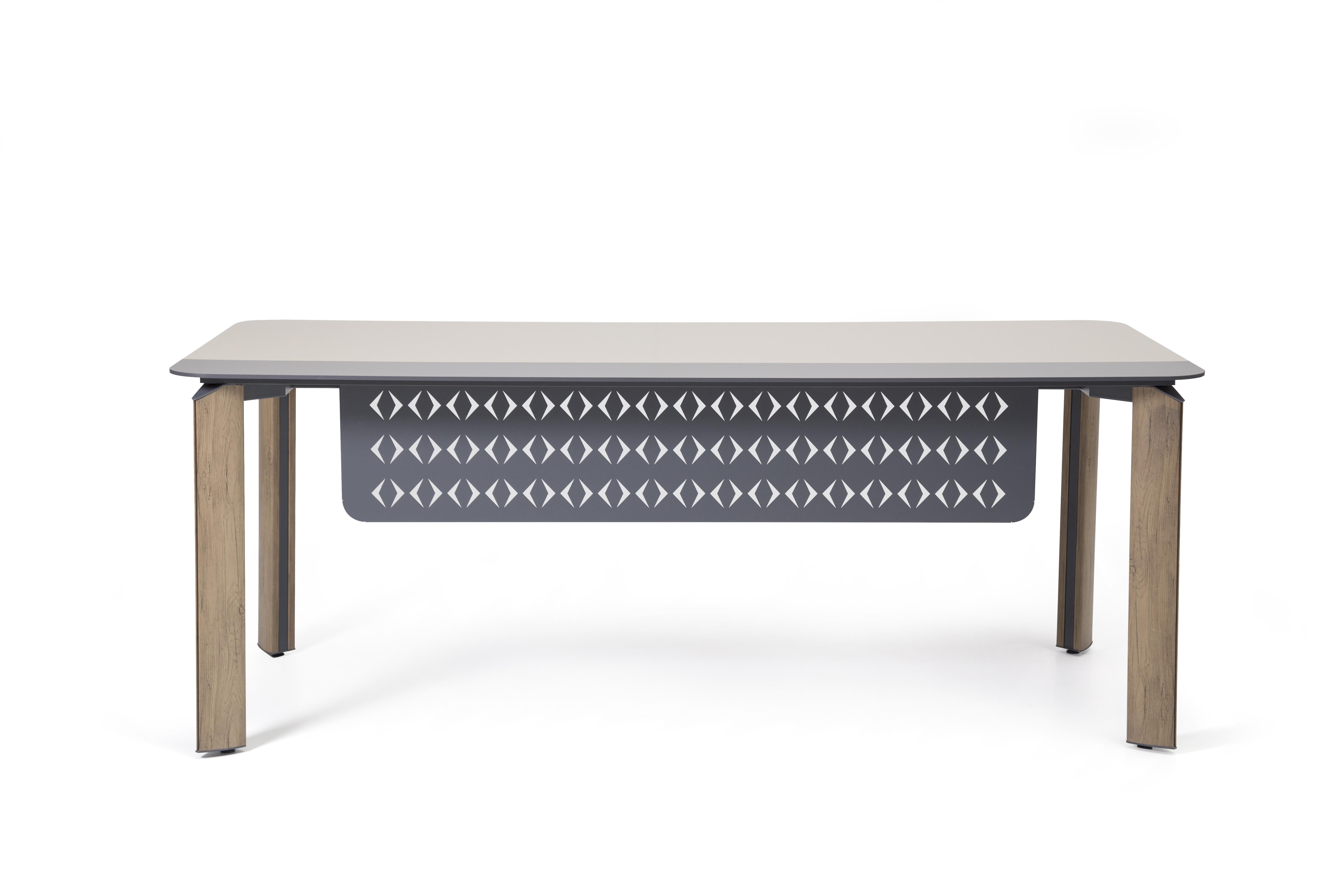 Ovali Schreibtisch 4-beinig Twist Holzoptik 200x90x75