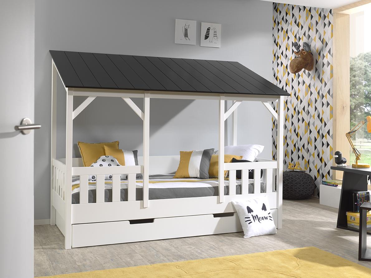 Spielbett mit Bettkasten Weiß Schwarz Bonni