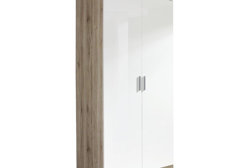Drehtürenschrank CELLE weiß / Eiche Sanremo 91 x 197 x 54 cm