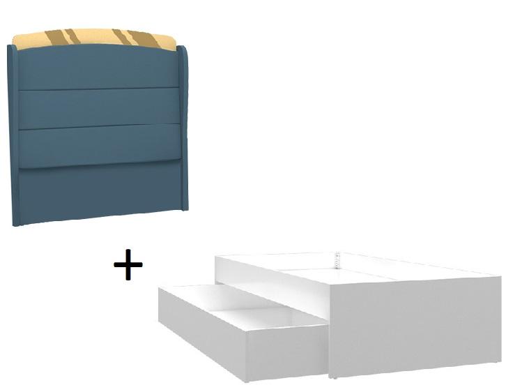 Almila Einzelbett 90x200 Elegant Blue mit Ausziehbett