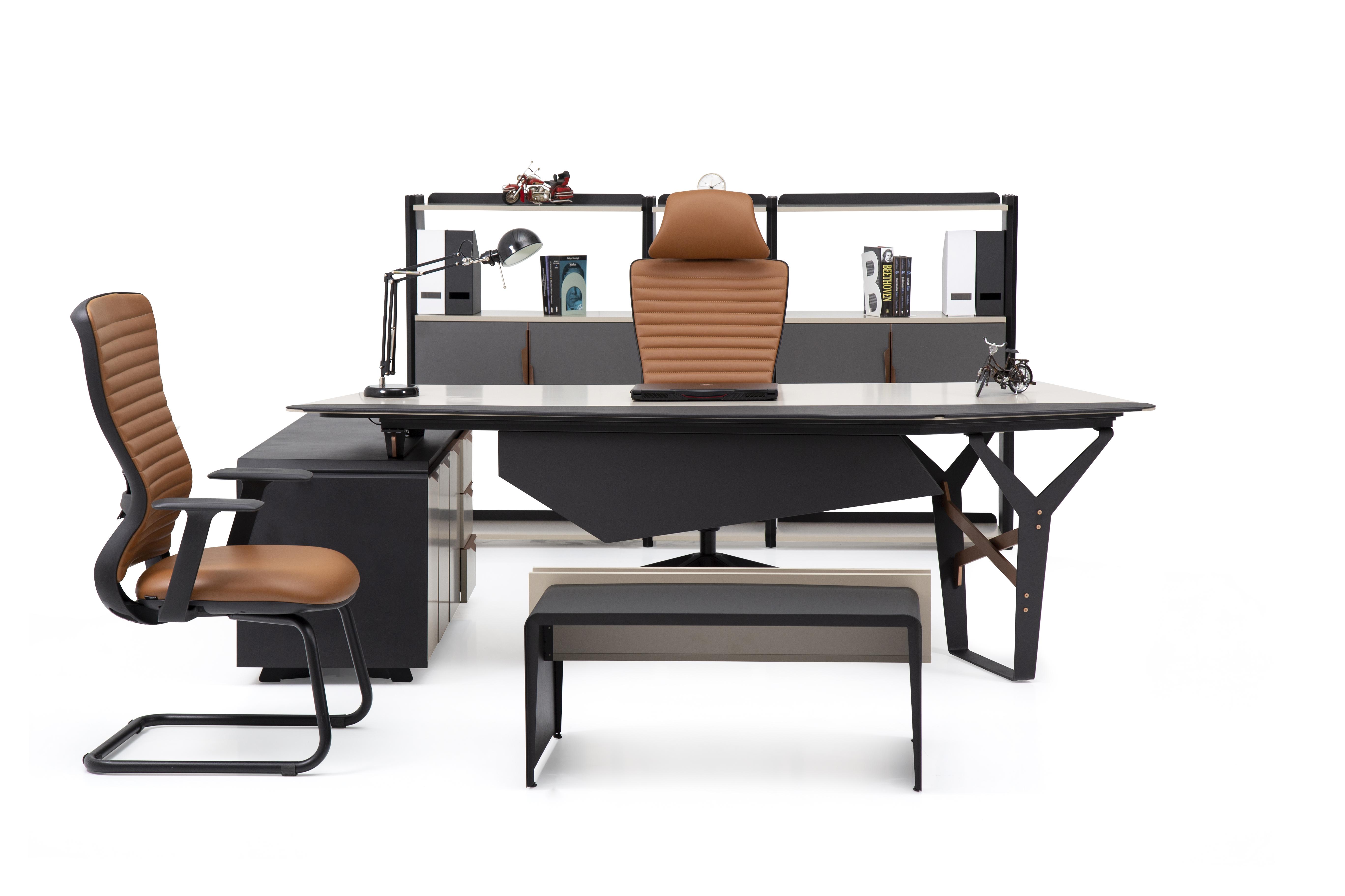 Ovali Büromöbel Set 4-teilig Skyline Schwarz Rechts