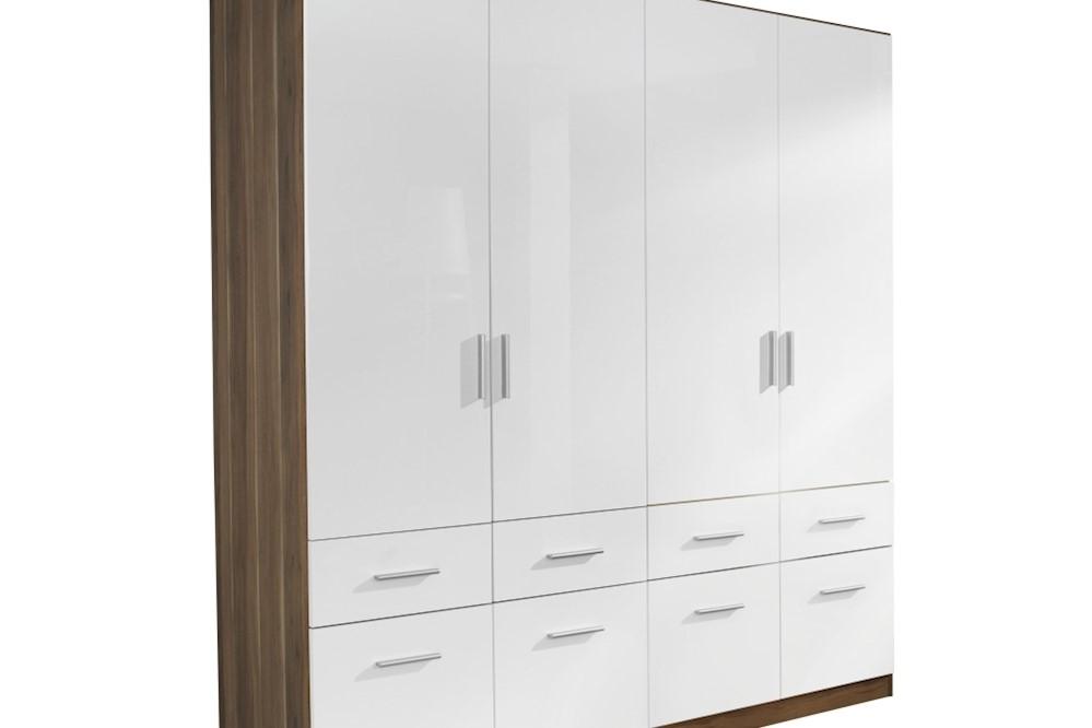 Drehtür-Kombischrank CELLE weiß / Kernnuss 181 x 210 x 54 cm