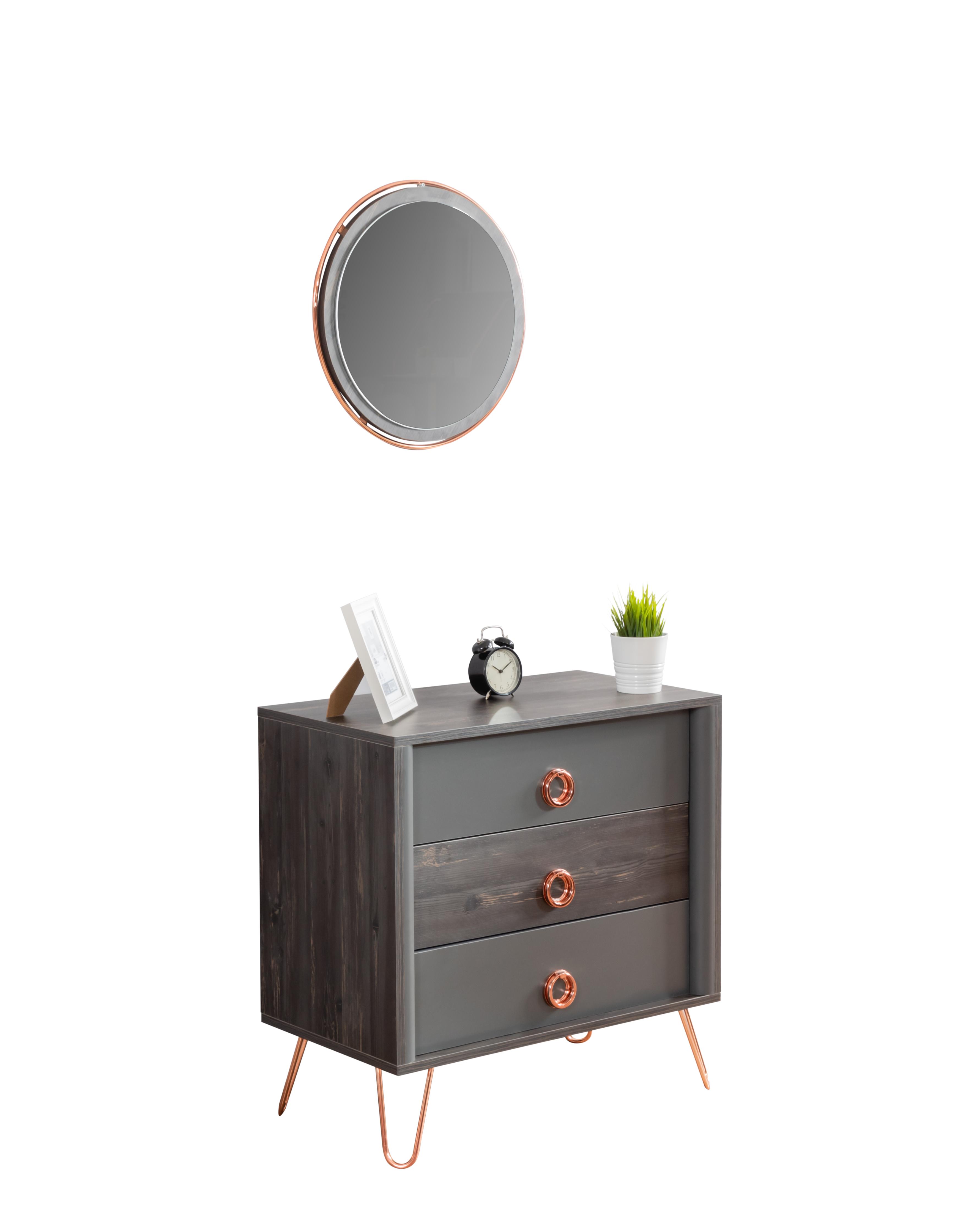 Odacix Kommode Black mit Spiegel in Anthrazit Bronze