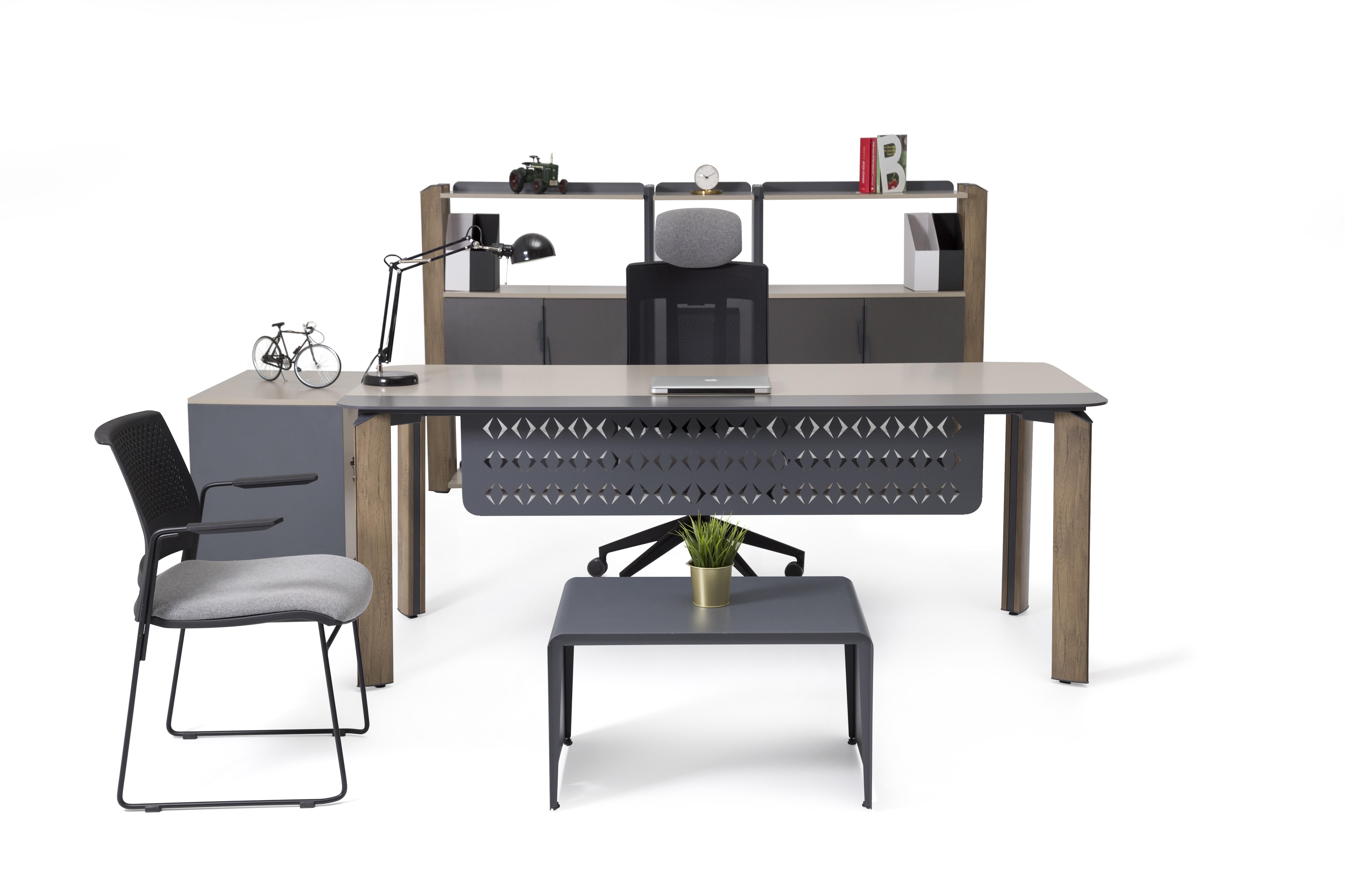Ovali Büromöbel komplett 4-teilig Twist 200x90 cm