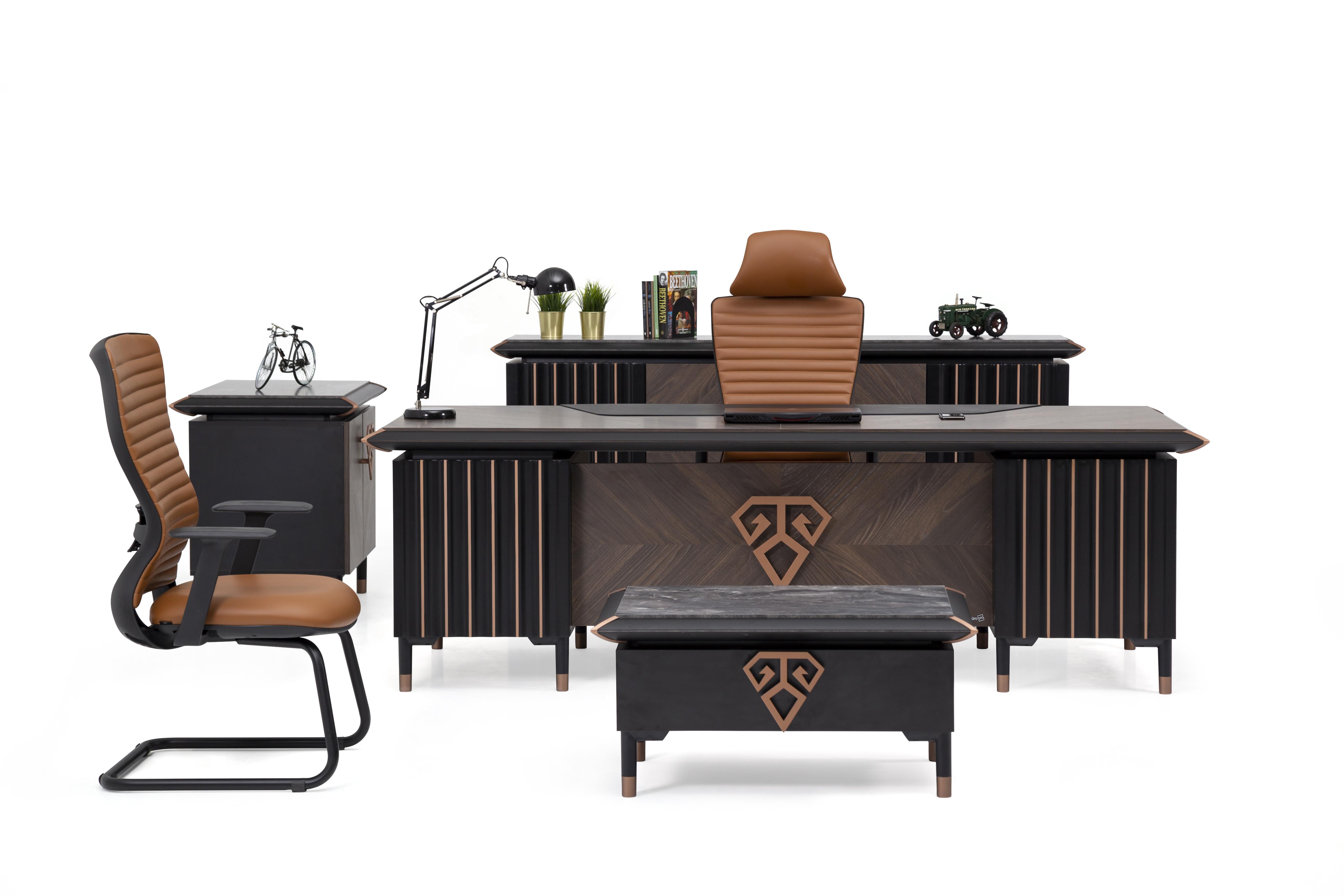 Ovali Büromöbel 4-teilig Newark Schwarz Bronze
